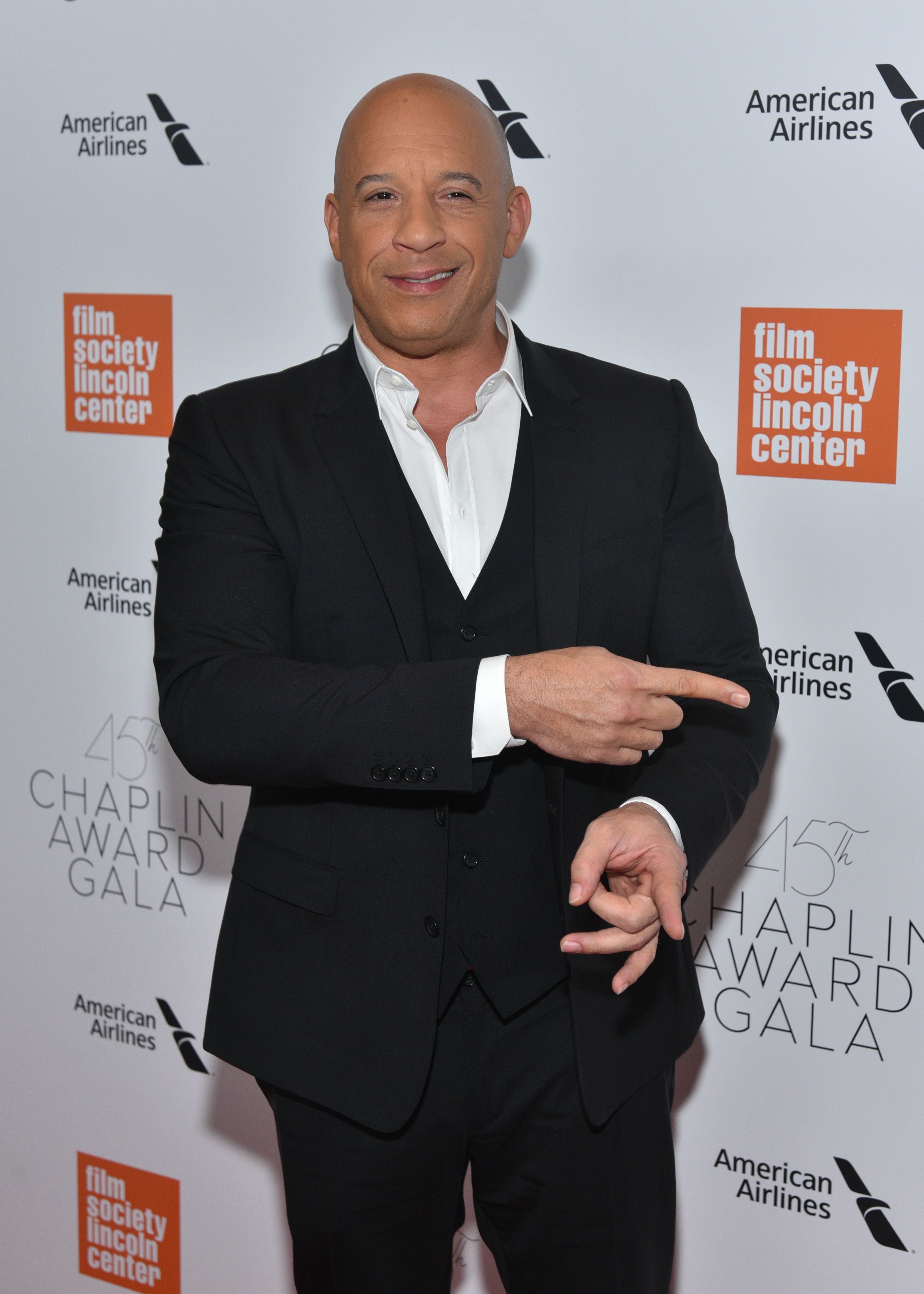 Vin Diesel appears at the Film Society of Lincoln Center's 45th Chaplin Award Gala in New York City on April 30, 2018.
