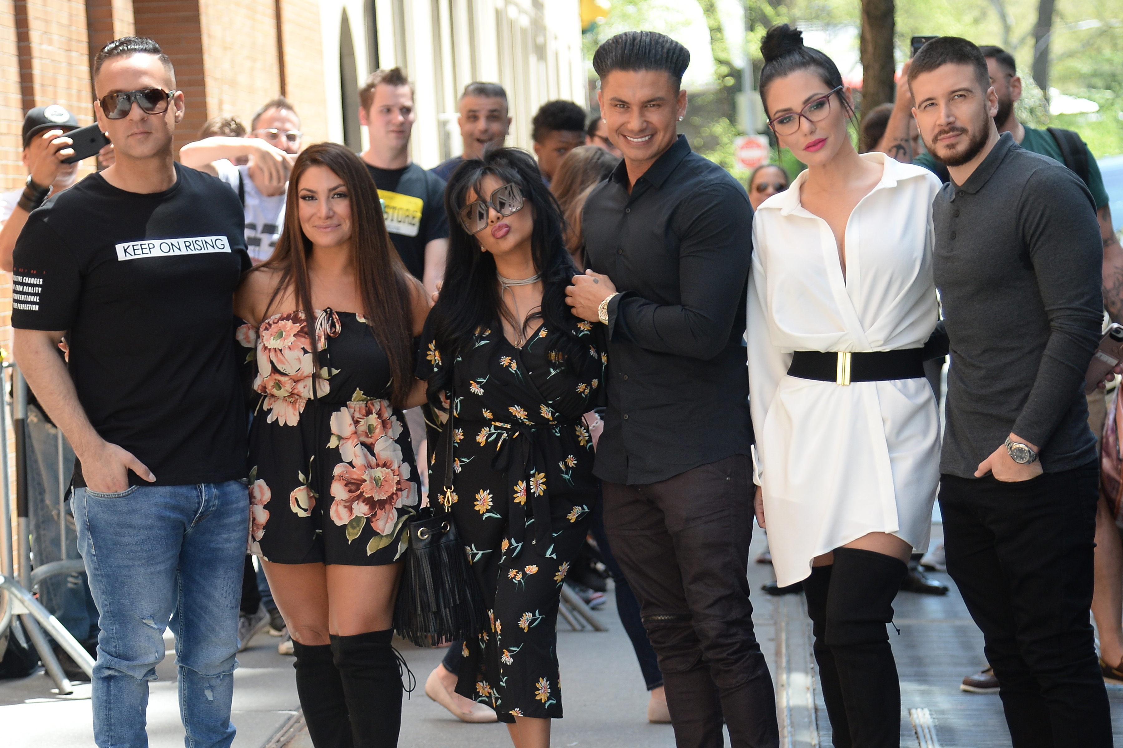 """Deena Nicole Cortese, Michael The Situation Sorrentino, Nicole Snooki Polizzi, Paul DelVecchio, Jenni J Woww Farley and Vinny Guadagnino appear at """"The View"""" in New York City on May 2, 2018."""