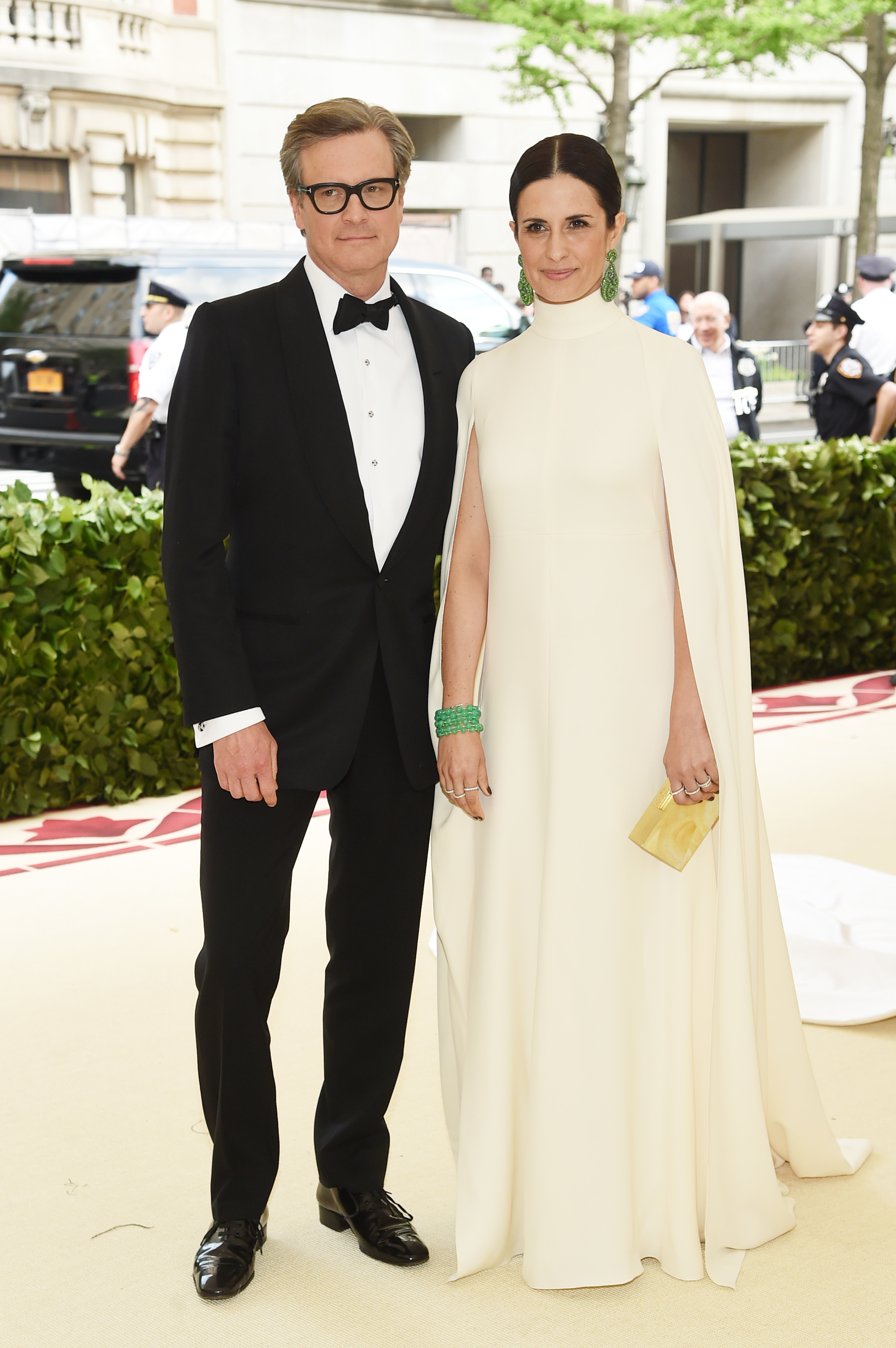 Colin Firth and  Livia Giuggioli attend The Metropolitan Museum of Art's Costume Institute Benefit celebrating the opening of Heavenly Bodies: Fashion and the Catholic Imagination in New York City on May 7, 2018.