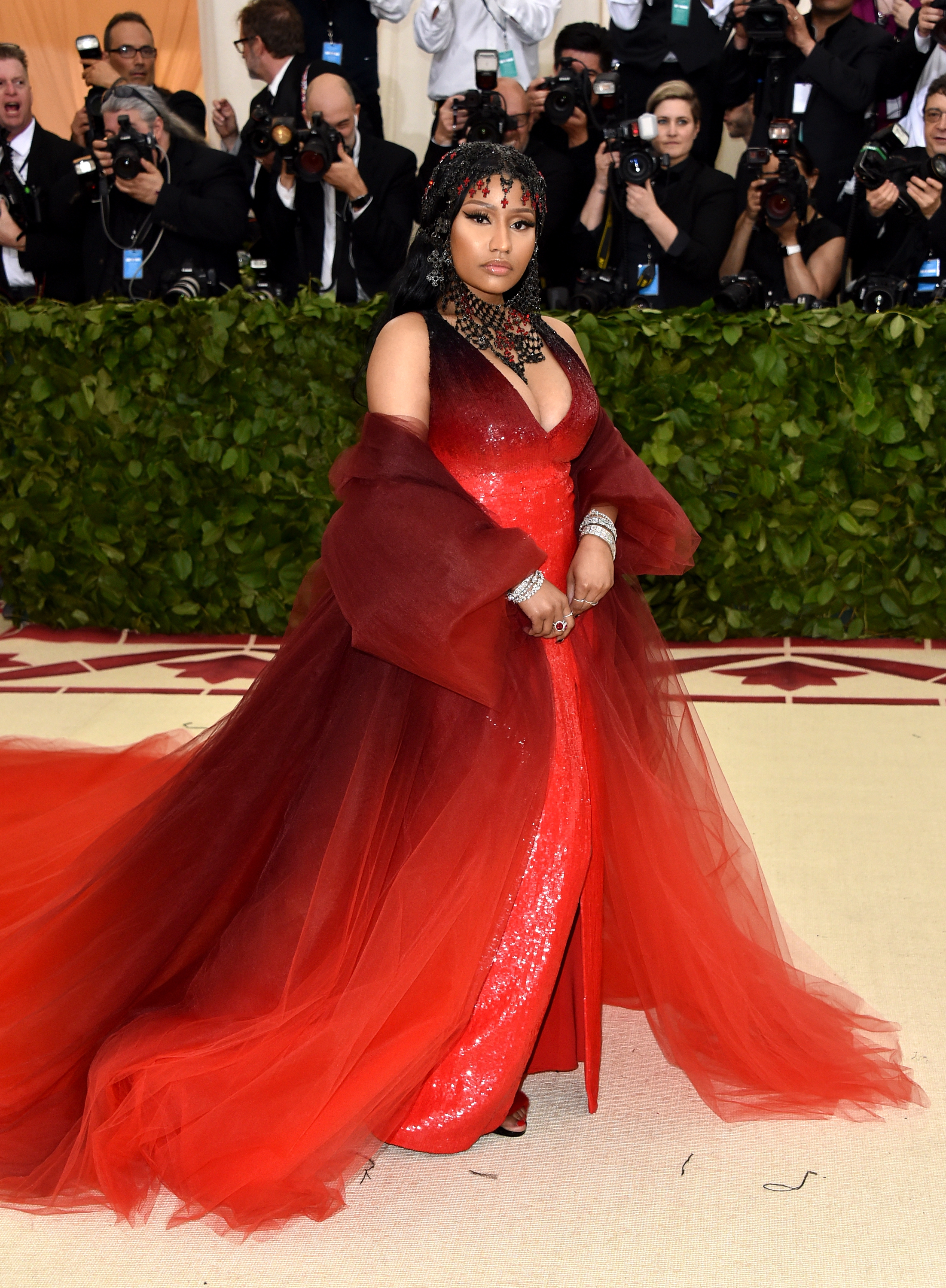 Nicki Minaj attends The Metropolitan Museum of Art's Costume Institute Benefit celebrating the opening of Heavenly Bodies: Fashion and the Catholic Imagination in New York City on May 7, 2018.