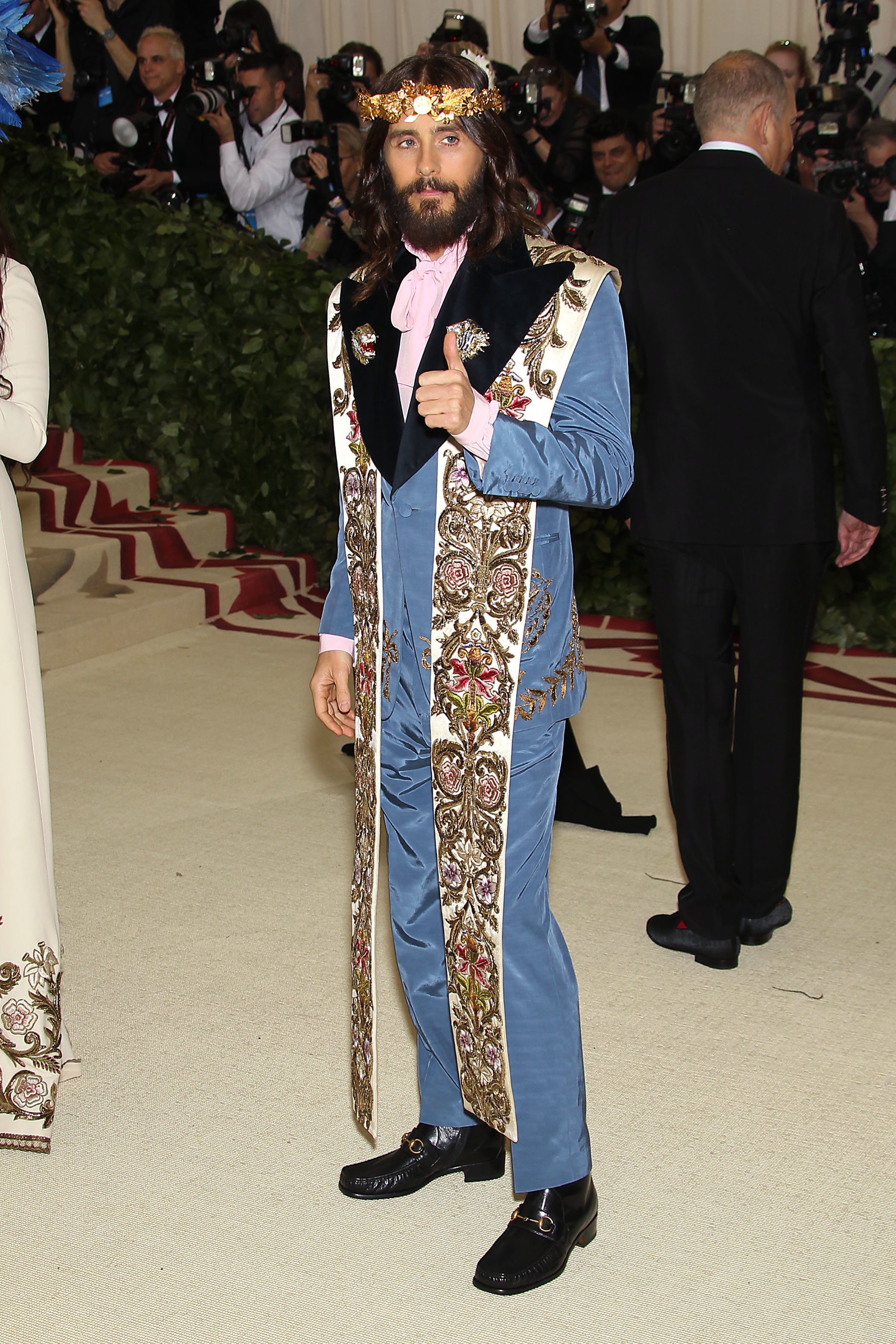 Jared Leto attends The Metropolitan Museum of Art's Costume Institute Benefit celebrating the opening of Heavenly Bodies: Fashion and the Catholic Imagination in New York City on May 7, 2018.