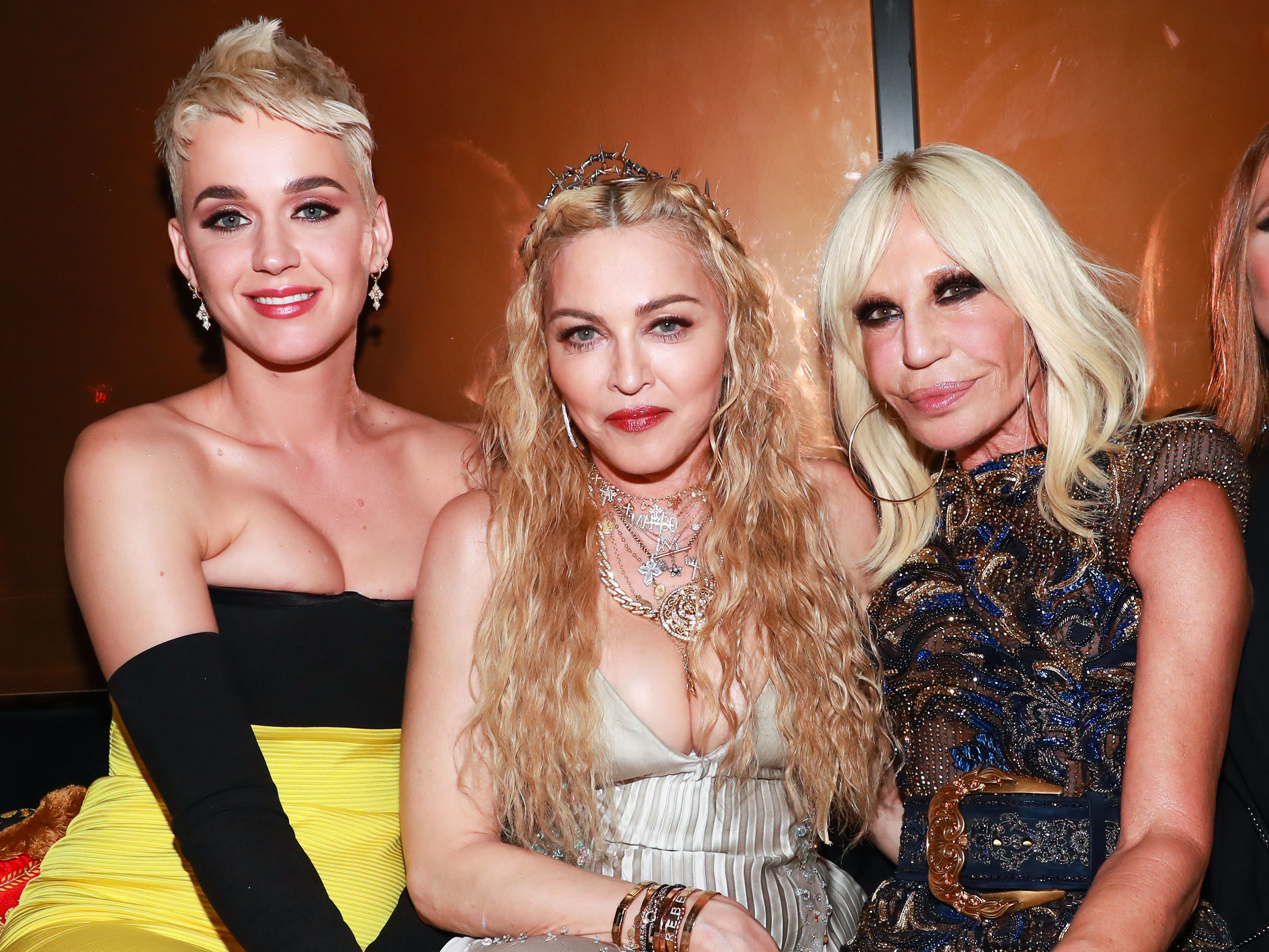 Katy Perry, Madonna, and Donatella Versace attend the Versace Afterparty in New York City on May 7, 2018.