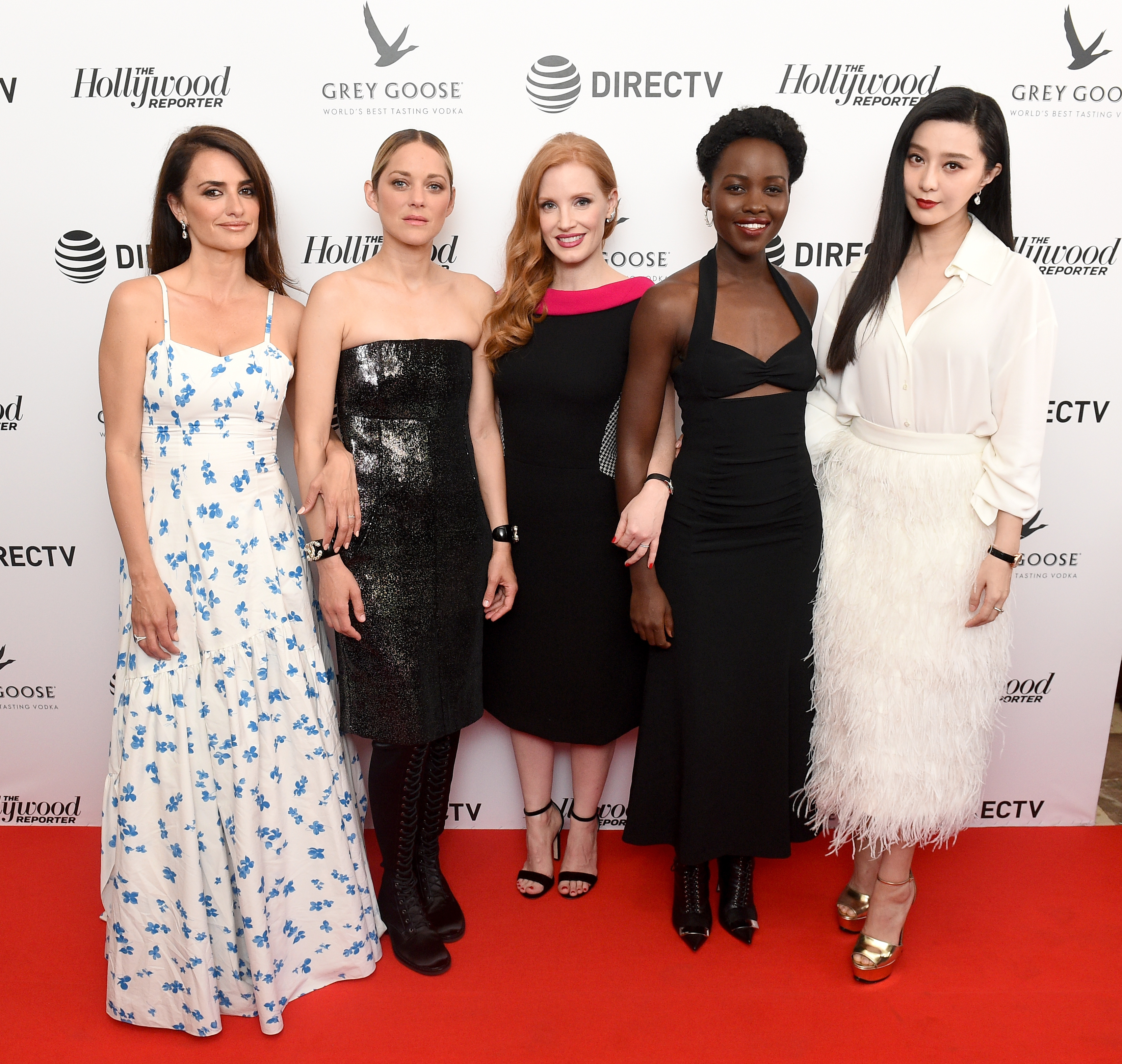 Penelope Cruz, Marion Cotillard, Jessica Chastain, Lupita Nyong'o, and Fan Bingbing at the '355' cocktail party, with DIRECTV and The Hollywood Reporter on the Grey Goose Terrace during the 71st Cannes Film Festival on May 10, 2018.