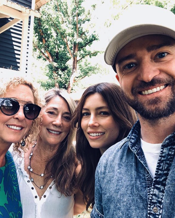 """Three out of the four of us are moms! Celebrating my MVP's today and everyday. Happy Mother's Day! 🏆""   Justin Timberlake, who posted this selfie on Instagram with his mother, Lynn Harless, his wife, Jessica Biel, and her mom, Kimberly Biel, on May 13, 2018."