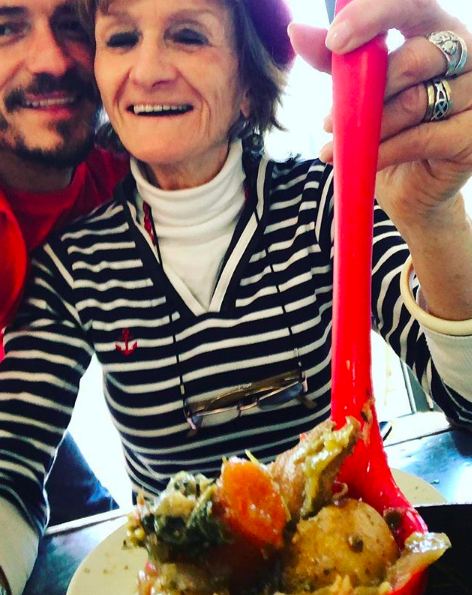"""""""important dinner date with me old mum who's been making me this stew since I can remember #happymothersday 😍🙏🏻❤️""""   Orlando Bloom, who posted this selfie with his mother on Instagram on May 13, 2018."""