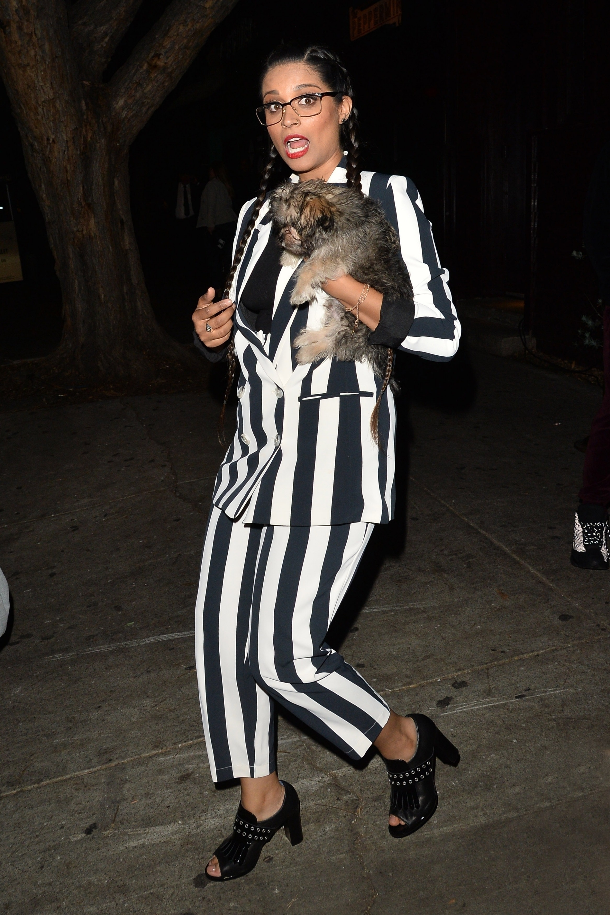 Lilly Singh was snapped leaving the Peppermint Club with her little furry friend after a night out in Los Angeles on April 28, 2018.