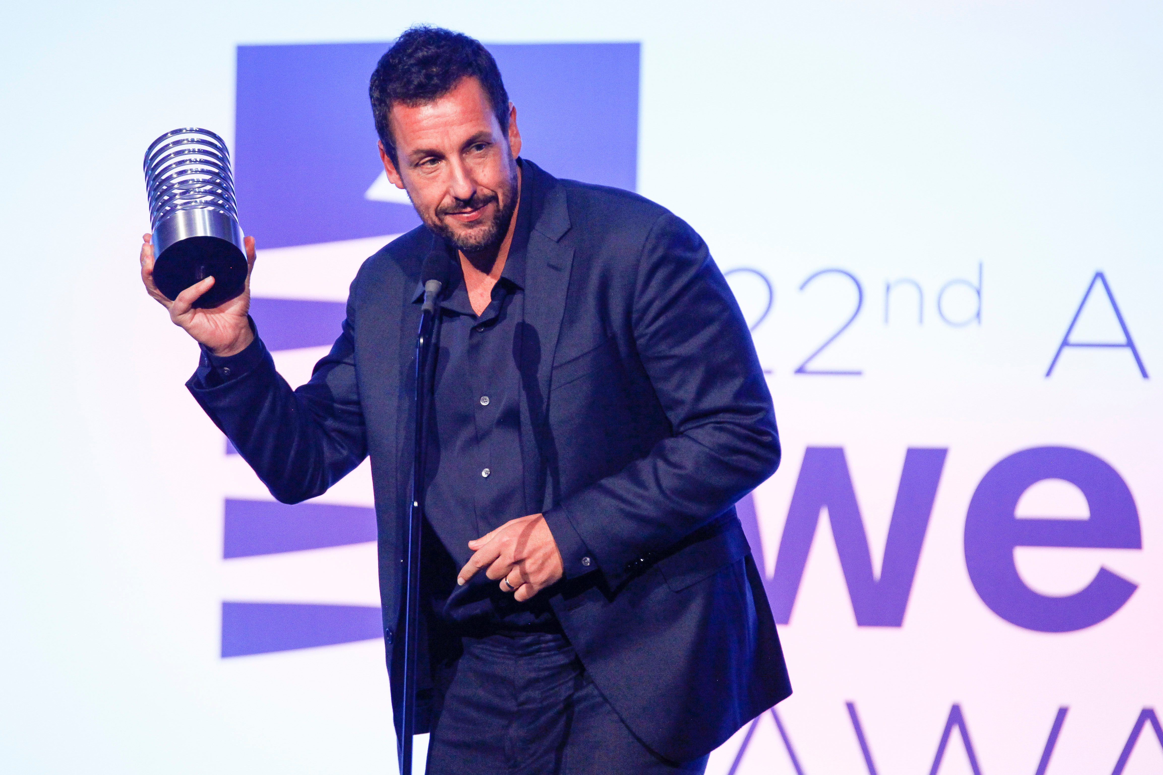 Adam Sandler attends the 22nd Annual Webby Awards at Cipriani Wall Street in New York City on May 14, 2018.