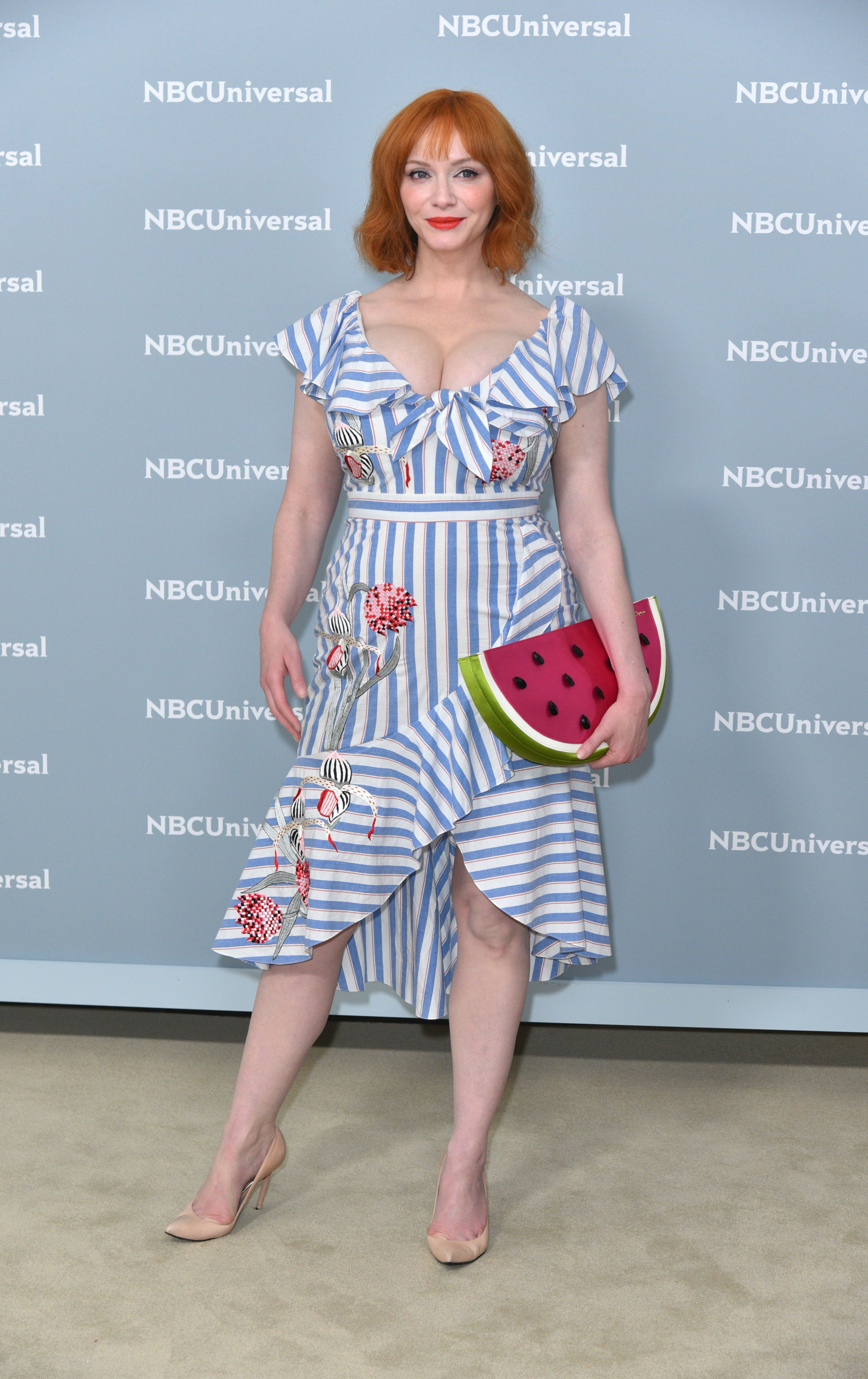 Christina Hendricks attends the NBCUniversal Upfront Presentation in New York City on May 14, 2018.