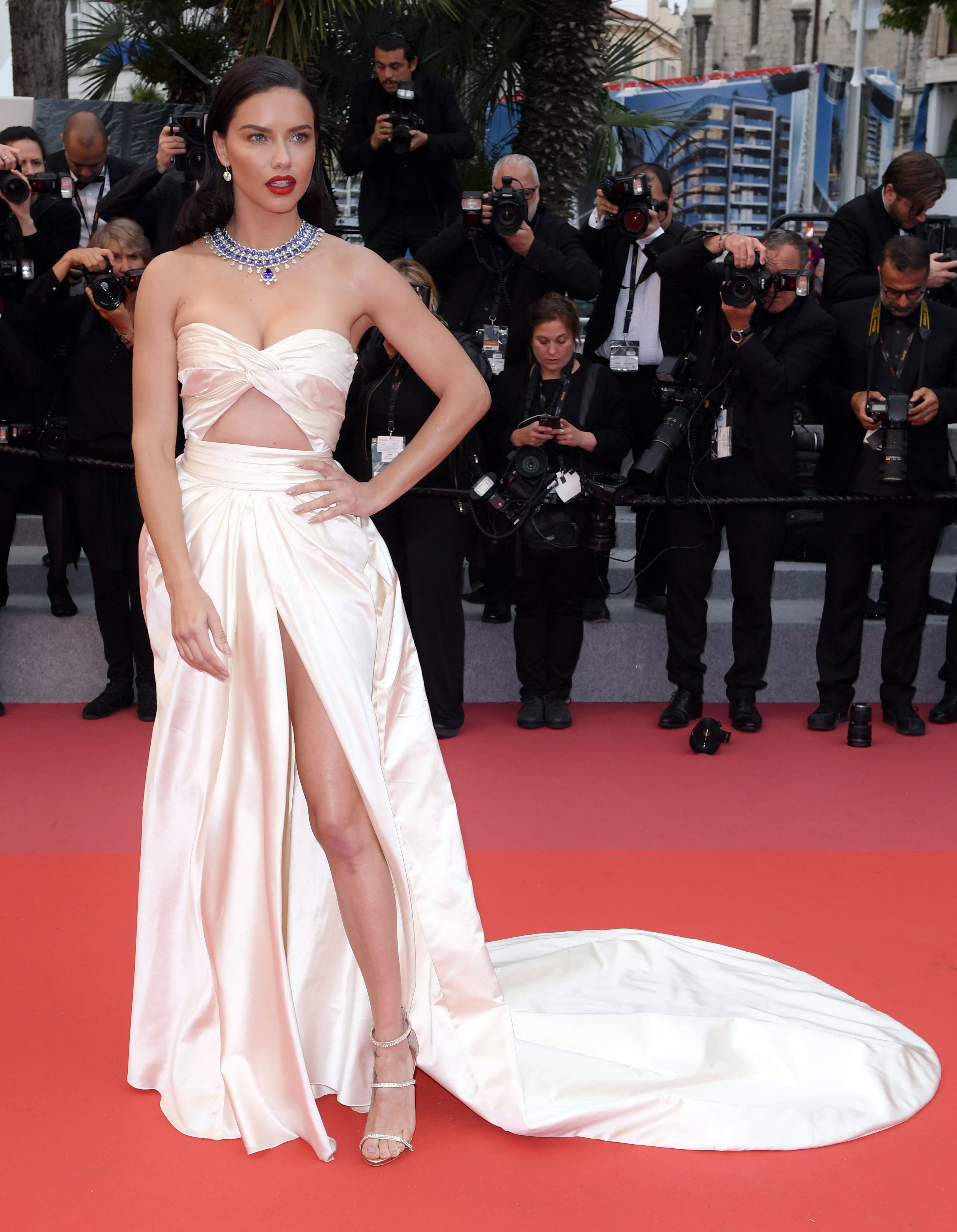 """Adriana Lima attends the """"Burning"""" premiere at the 71st Cannes Film Festival on May 16, 2018."""