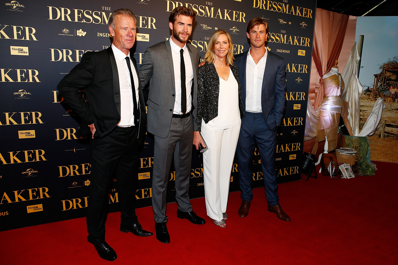 "Craig Hemsworth, Liam Hemsworth, Leonie Hemsworth and Chris Hemsworth arrive at the Australian premiere of ""The Dressmaker"" in Melbourne on Oct. 18, 2015."