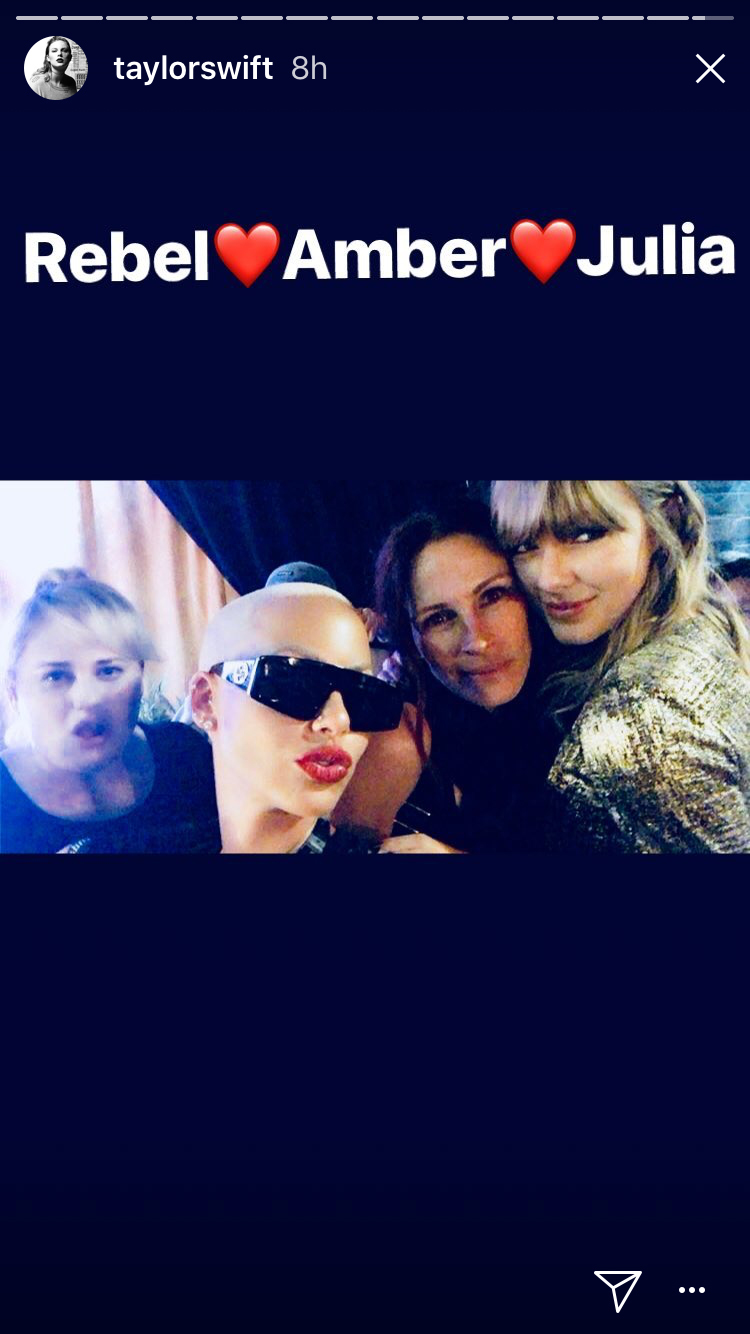 """Taylor Swift posted this photo with Rebel Wilson, Amber Rose and Julia Roberts backstage at her """"Reputation"""" world tour stop in Pasadena, California, on May 19, 2018."""