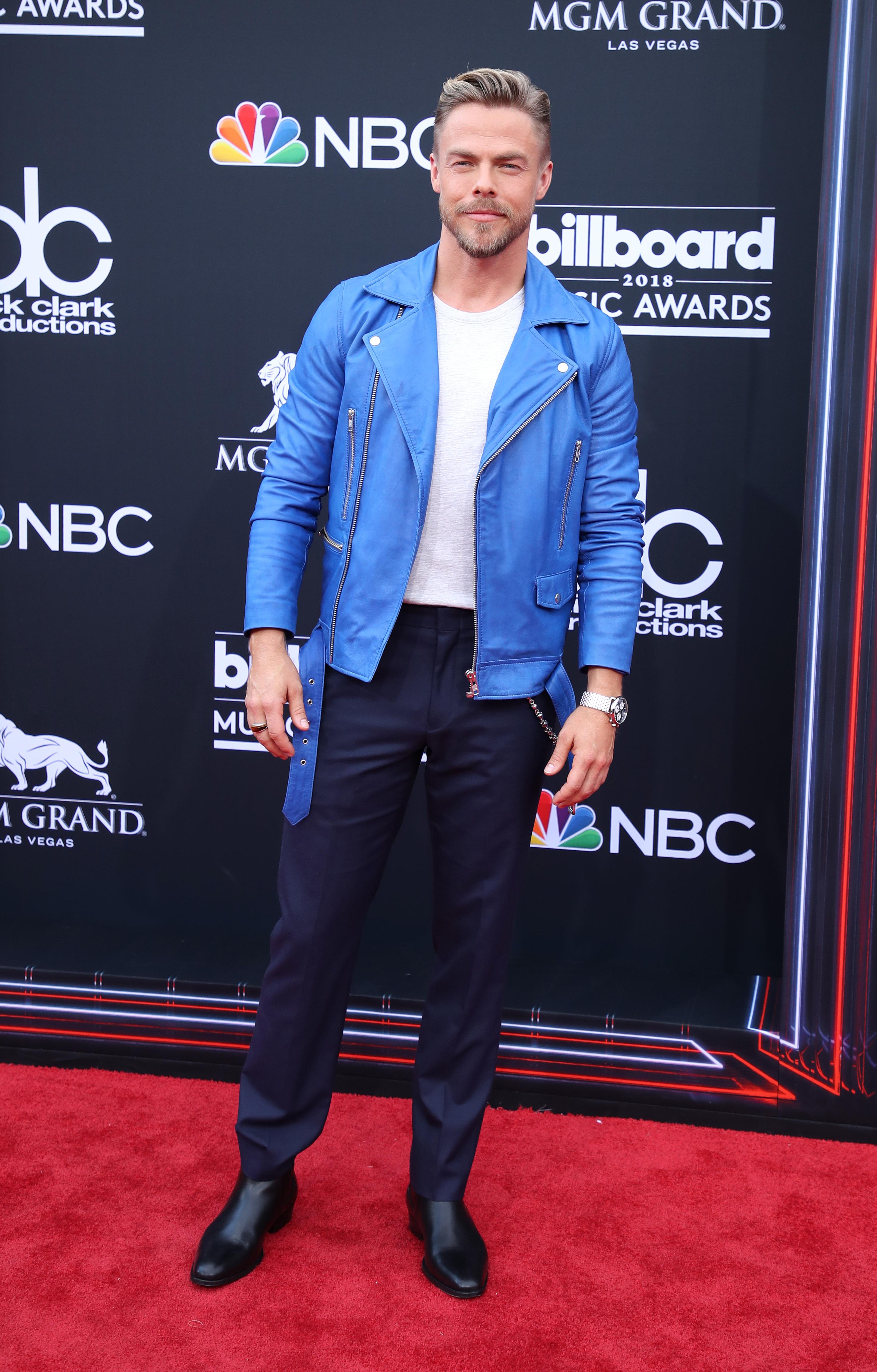 Derek Hough arrives at the Billboard Music Awards in Las Vegas on May 20, 2018.
