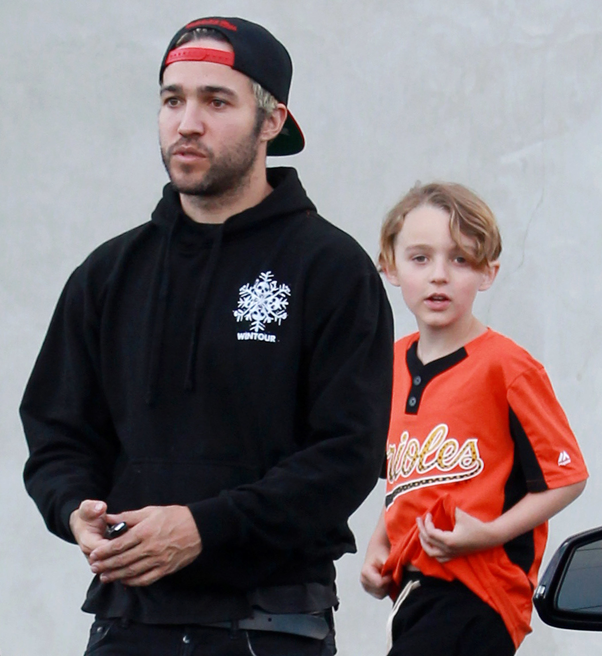 Pete Wentz and son Bronx Wentz leave Maxfield in Los Angeles on April 11, 2016.