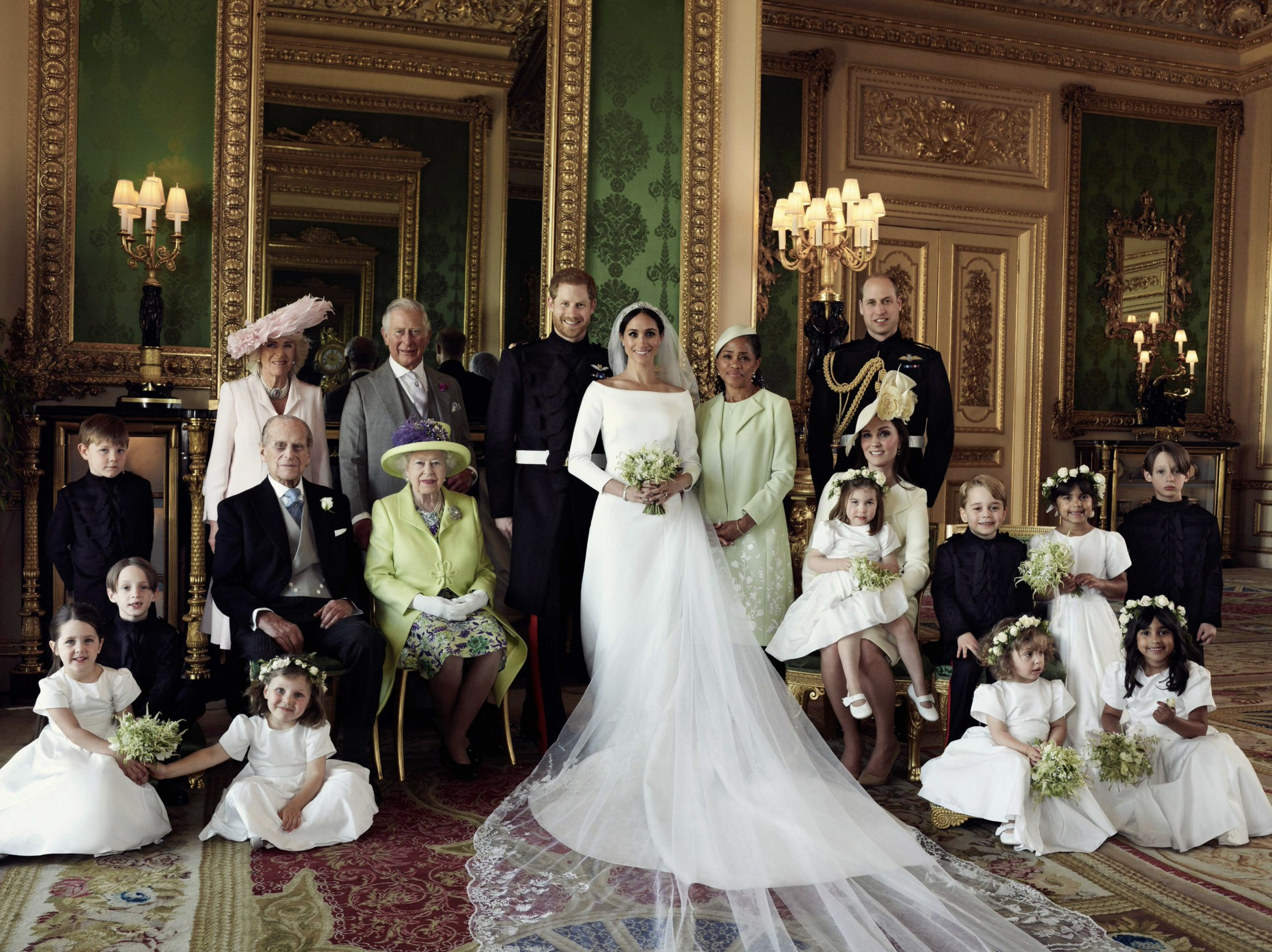 """The Duke and Duchess of Sussex have released three official photographs taken on their wedding day by photographer Alexi Lubomirski. #RoyalWedding""   The Royal Family Twitter account, which shared this official wedding photo of Prince Harry and Meghan Markle with their family members on May 21, 2018"