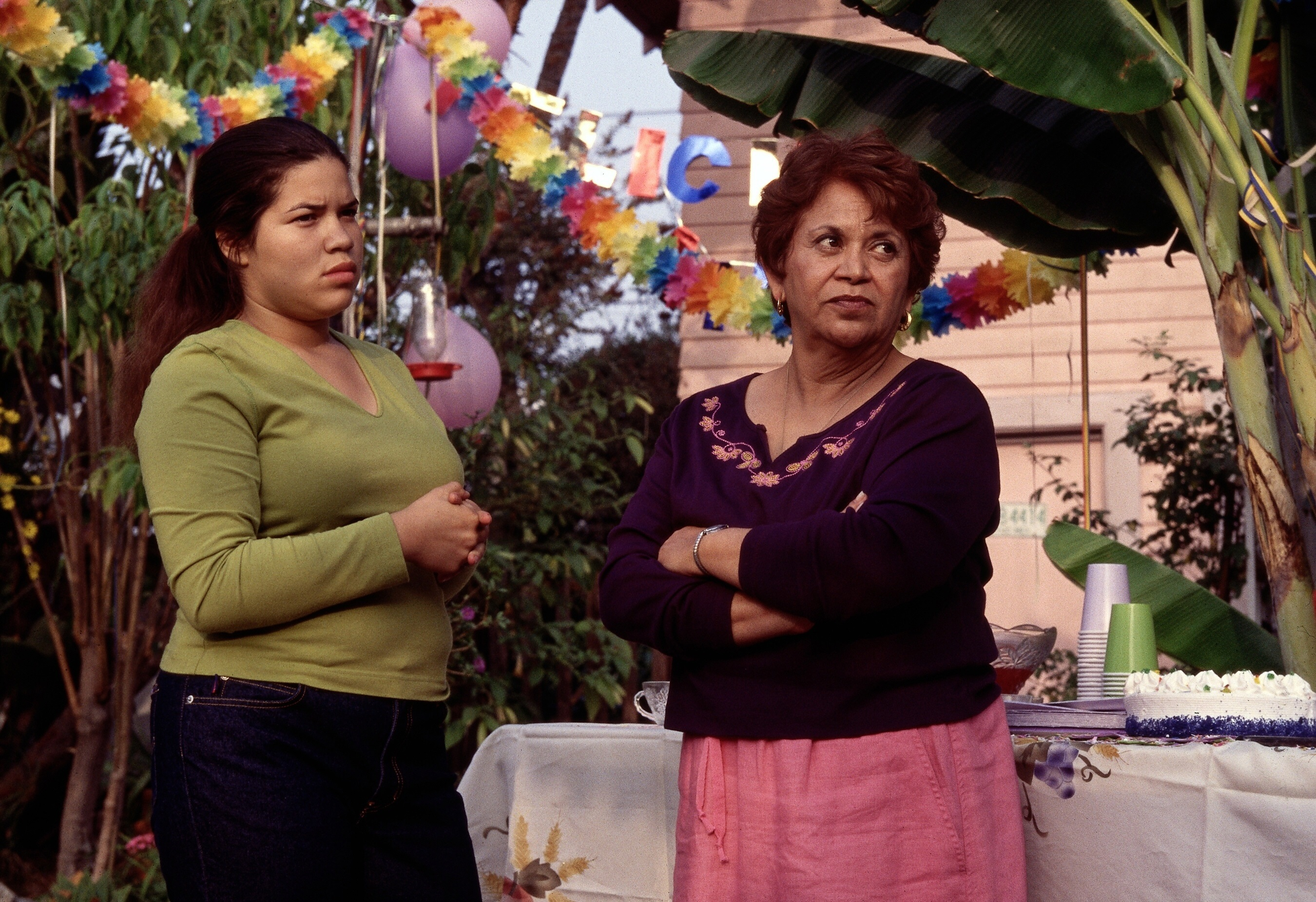 """America Ferrera and Lupe Ontiveros in """"Real Women Have Curves"""" in 2002."""