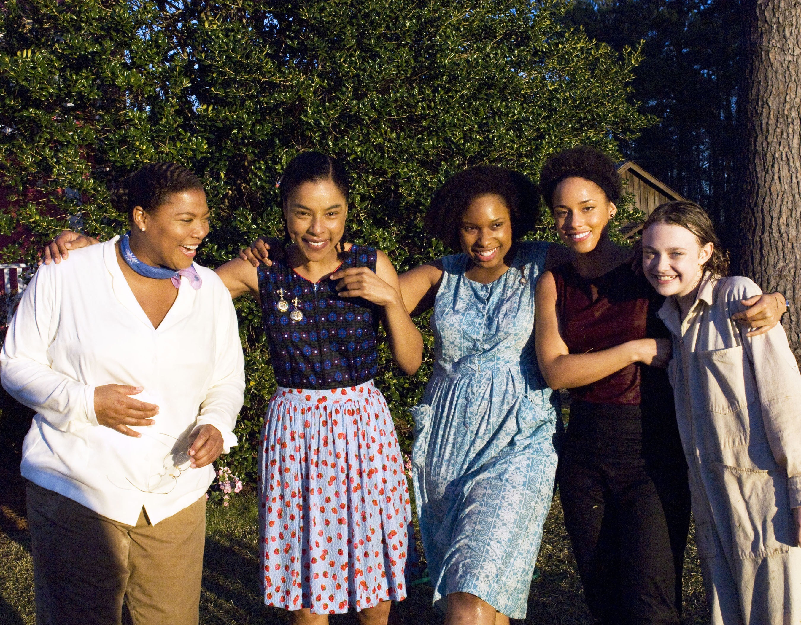 "Queen Latifah, Sophie Okonedo, Jennifer Hudson, Alicia Keys and Dakota Fanning in 2008's ""The Secret Life of Bees."""