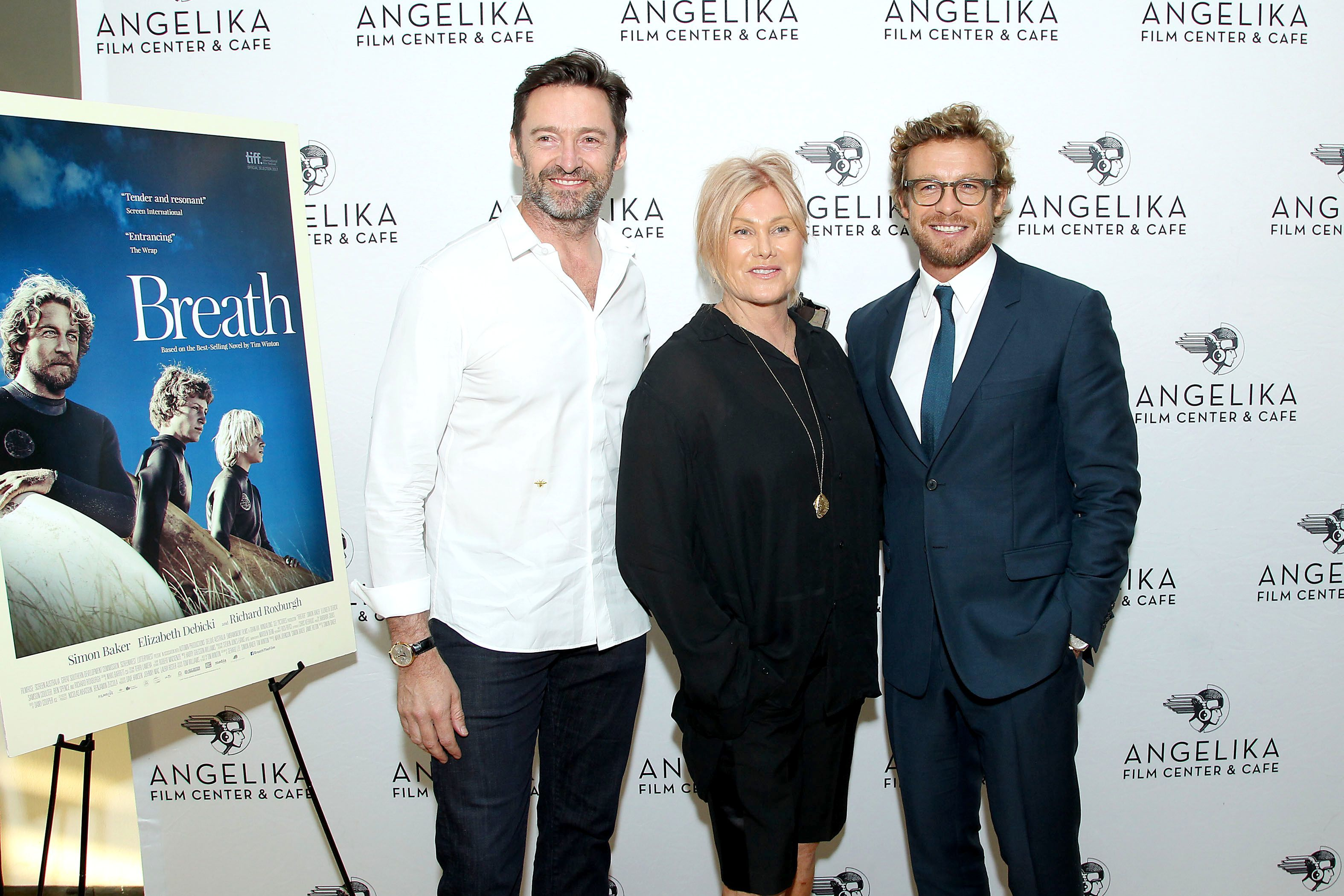 """Hugh Jackman, Deborra Lee Furness, and Simon Baker attend the screening of """"Breath"""" in New York City on May 24, 2018."""