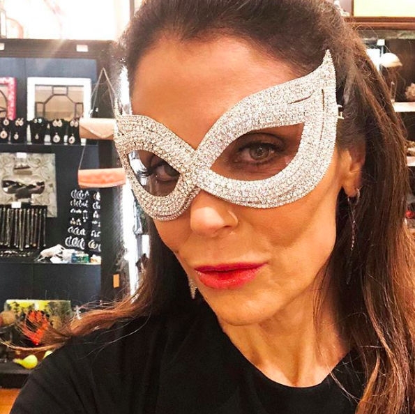 """""""Break the zipper on your dress✔️ Run barefoot 6 blocks to the church in the rain✔️ Ruin your hair and makeup✔️ Covering the damage with a diamond mask ☑️✨💎🎭 #NOLA #southernwedding""""   Bethenny Frankel, who posted this selfie from New Orleans on Instagram on May 27, 2018."""