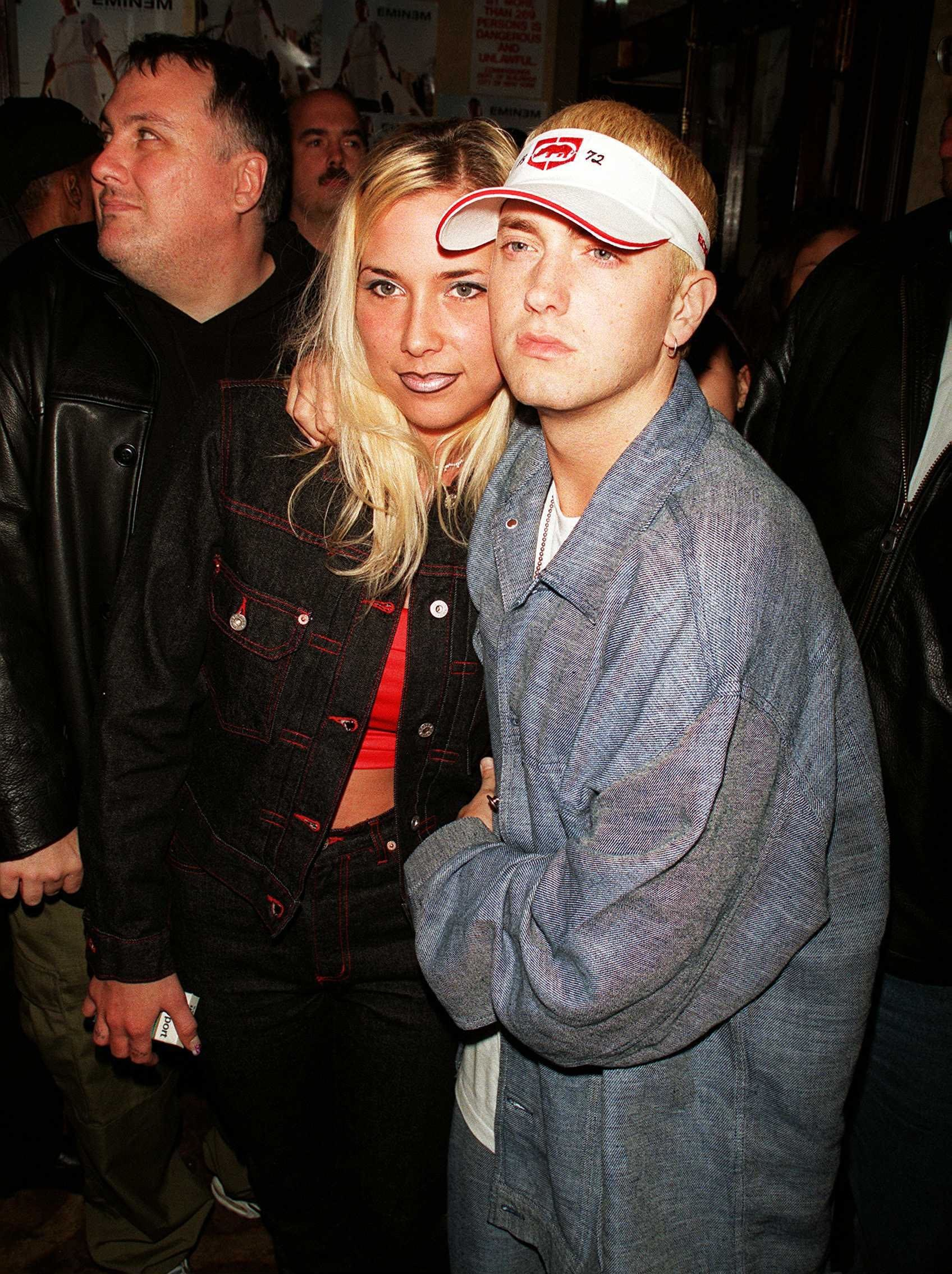 Rapper Eminem and wife Kim Mathers at his record release party.