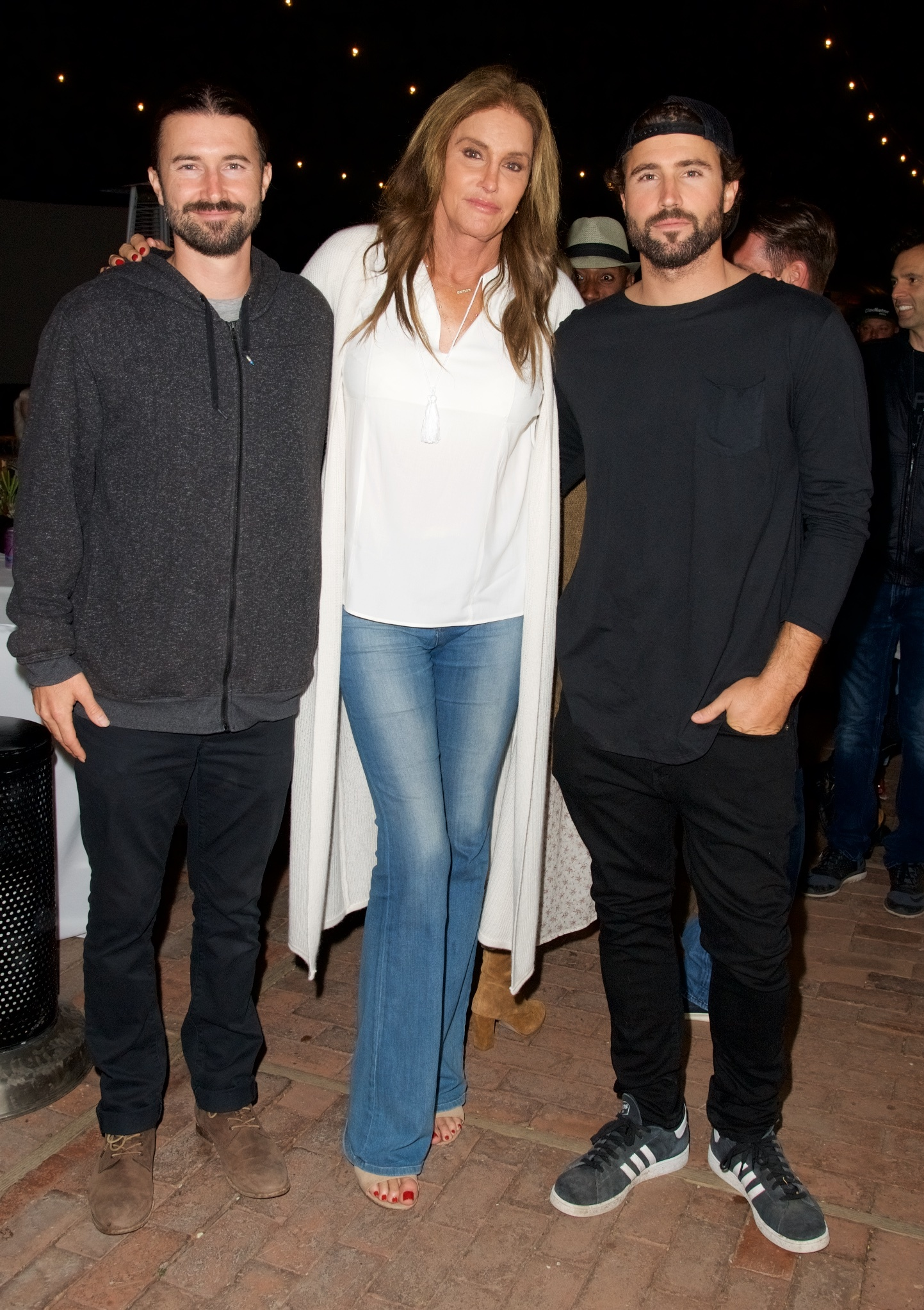 """Brandon Jenner, Caitlyn Jenner and Brody Jenner attend Brandon's record release party for """"Burning Ground"""" in Malibu on Nov. 19, 2016."""