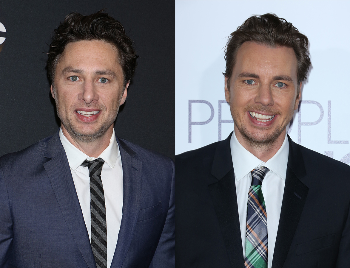 Zach Braff attends the ABC Upfront Presentation 2017 in New York City on May 16, 2017. / Dax Shepard attends the 43rd Annual People's Choice Awards in Los Angeles on Jan. 18, 2017.
