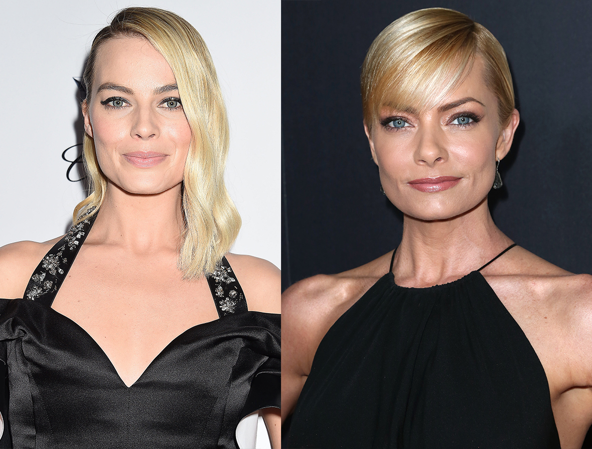 Margot Robbie attends the Producers Guild Awards in Los Angeles on Jan. 20, 2018. / Jaime Pressly attends the Art Directors Guild 20th Annual Excellence in Production Awards in Los Angeles on Jan. 31, 2016.