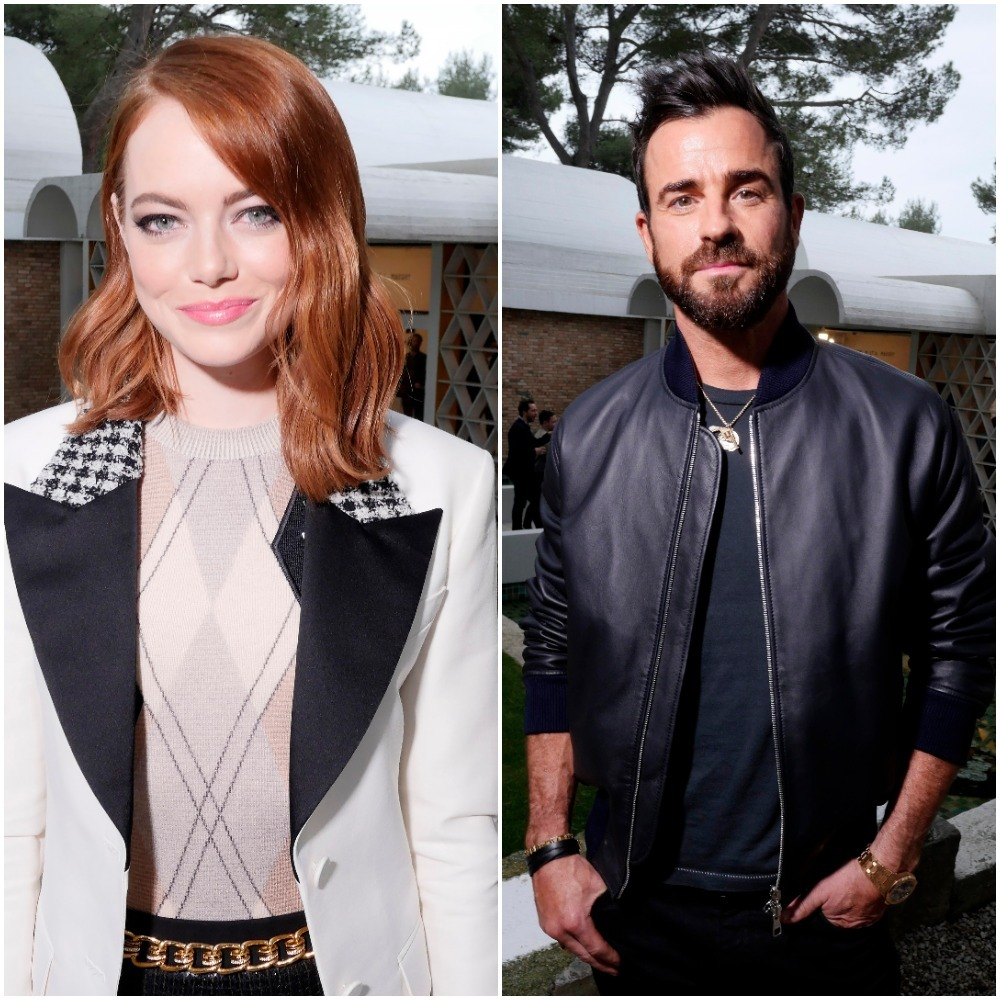 Emma Stone and Justin Theroux appear in a composite image from 2018.