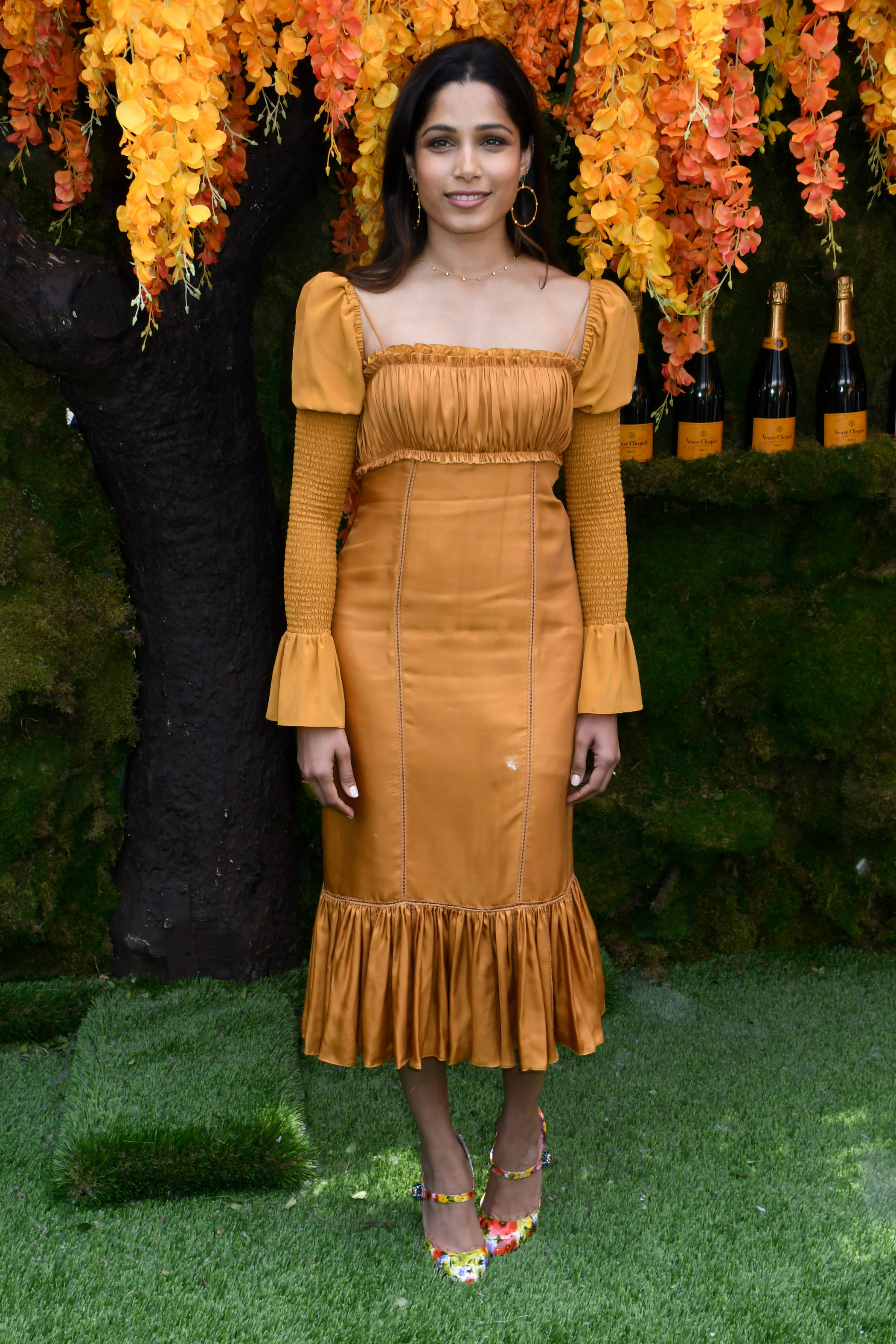 Freida Pinto attends the Veuve Clicquot Polo Classic at Liberty State Park in New Jersey on June 2, 2018.