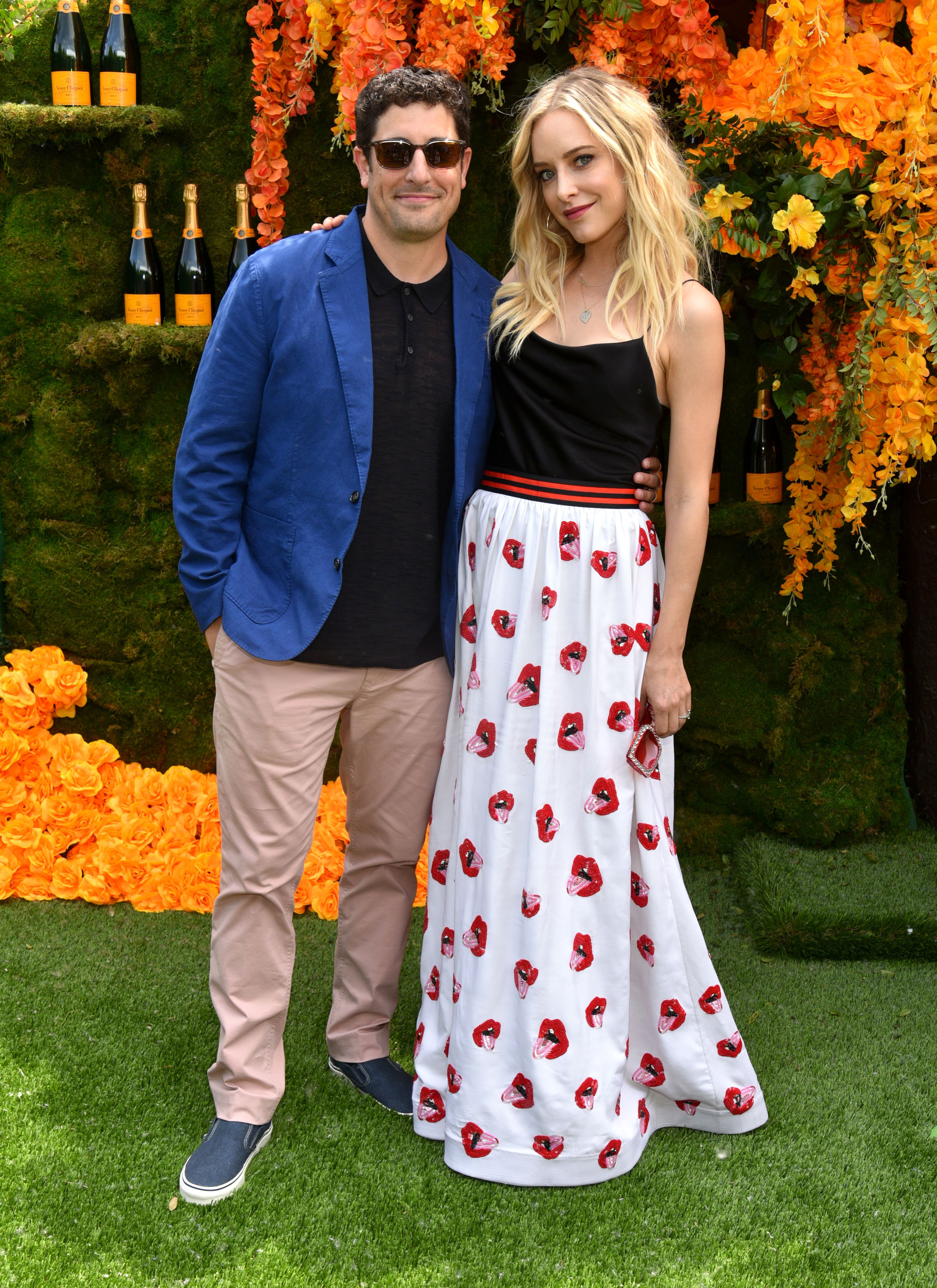 Jason Biggs and Jenny Mollen attend the Veuve Clicquot Polo Classic at Liberty State Park in New Jersey on June 2, 2018.