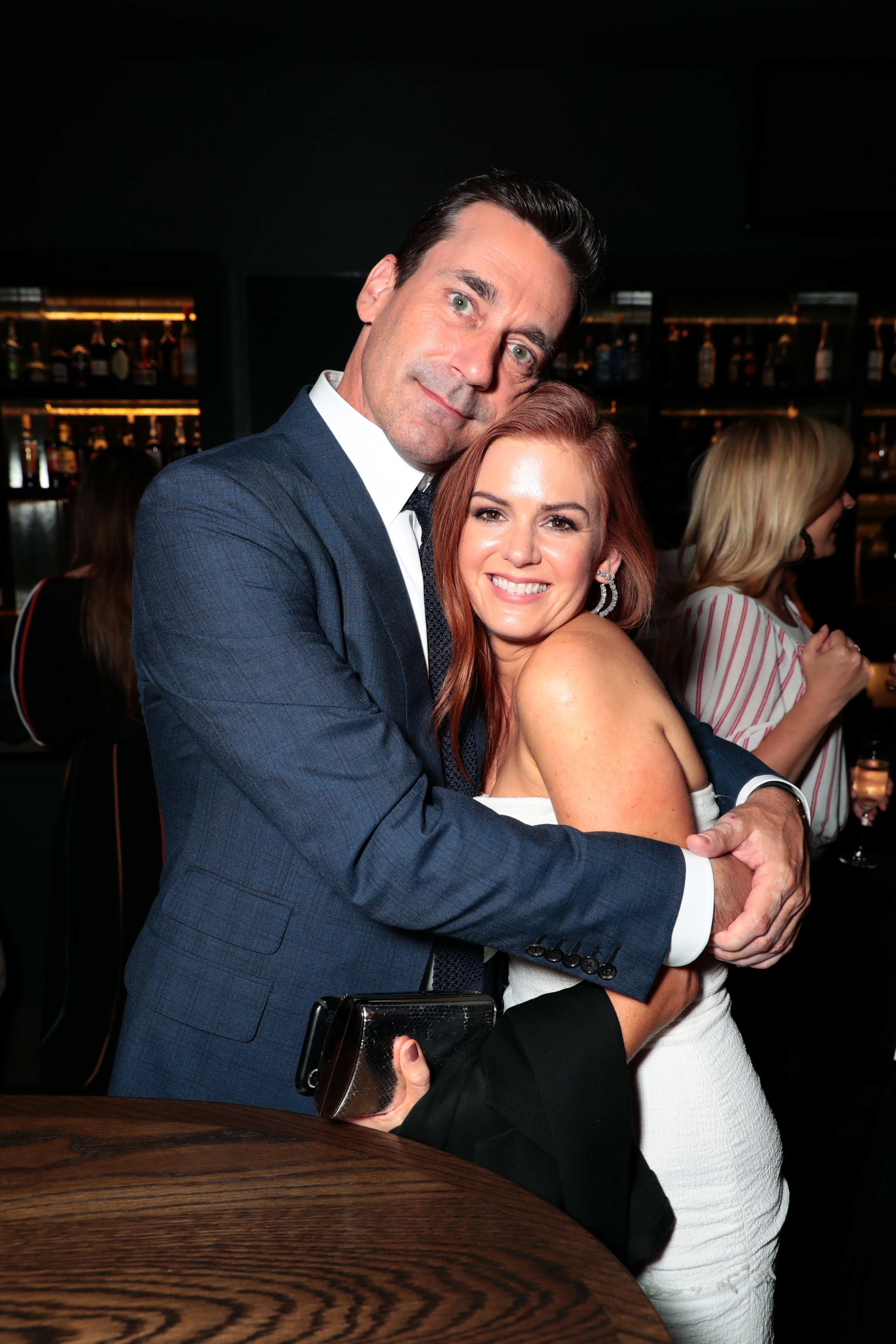 """Jon Hamm and Isla Fisher attend Warner Bros. Pictures and New Line Cinema present the World Premiere of """"TAG"""" in Los Angeles on June 7, 2018."""
