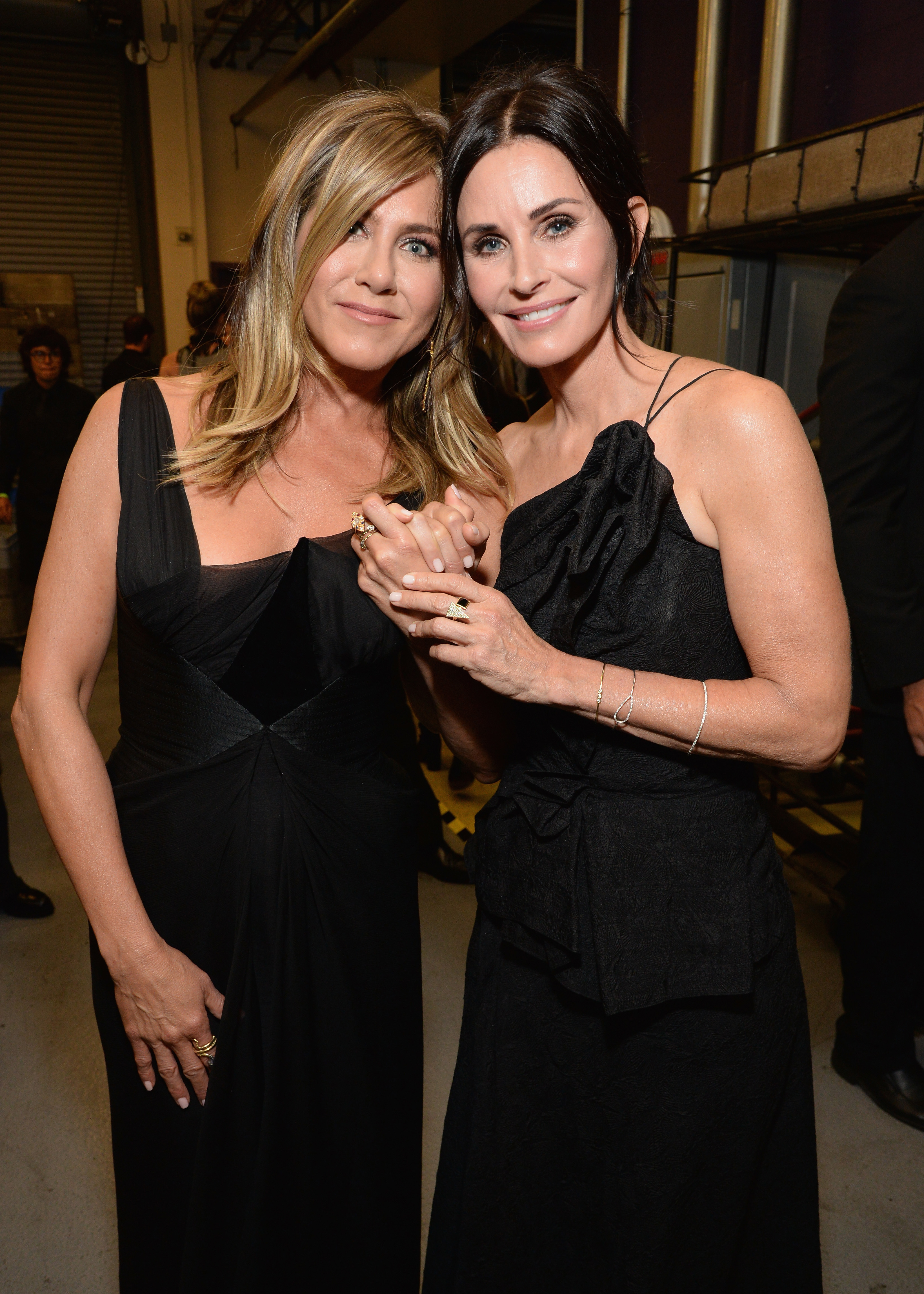 Jennifer Aniston and Courteney Cox attend Audi presents the American Film Institute's 46th Life Achievement Award Gala Tribute to George Clooney in Hollywood on June 7, 2018.