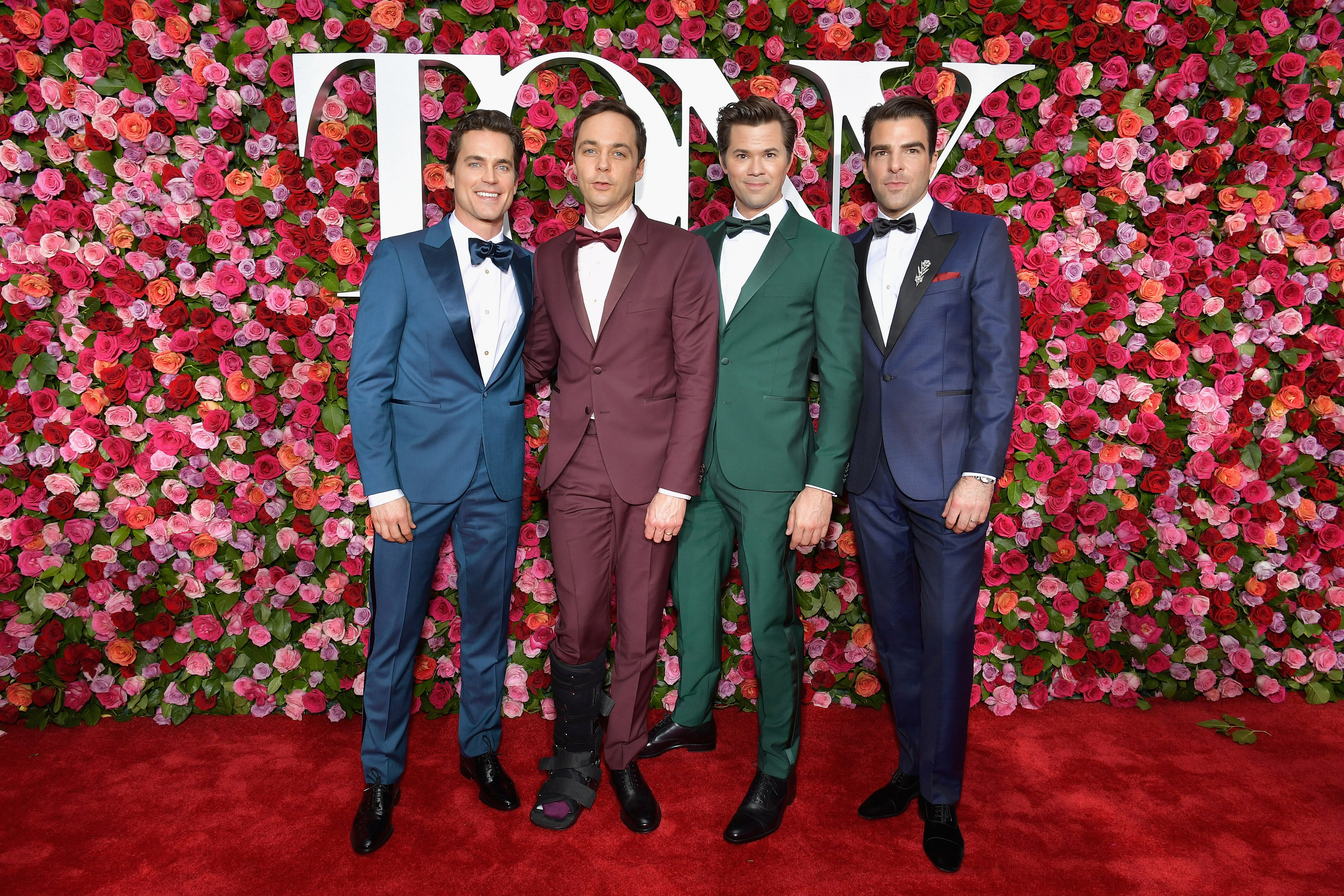 Matt Bomer, Jim Parsons, Andrew Rannells and Zachary Quinto attend the 72nd Annual Tony Awards at Radio City Music Hall in New York City on June 10, 2018.
