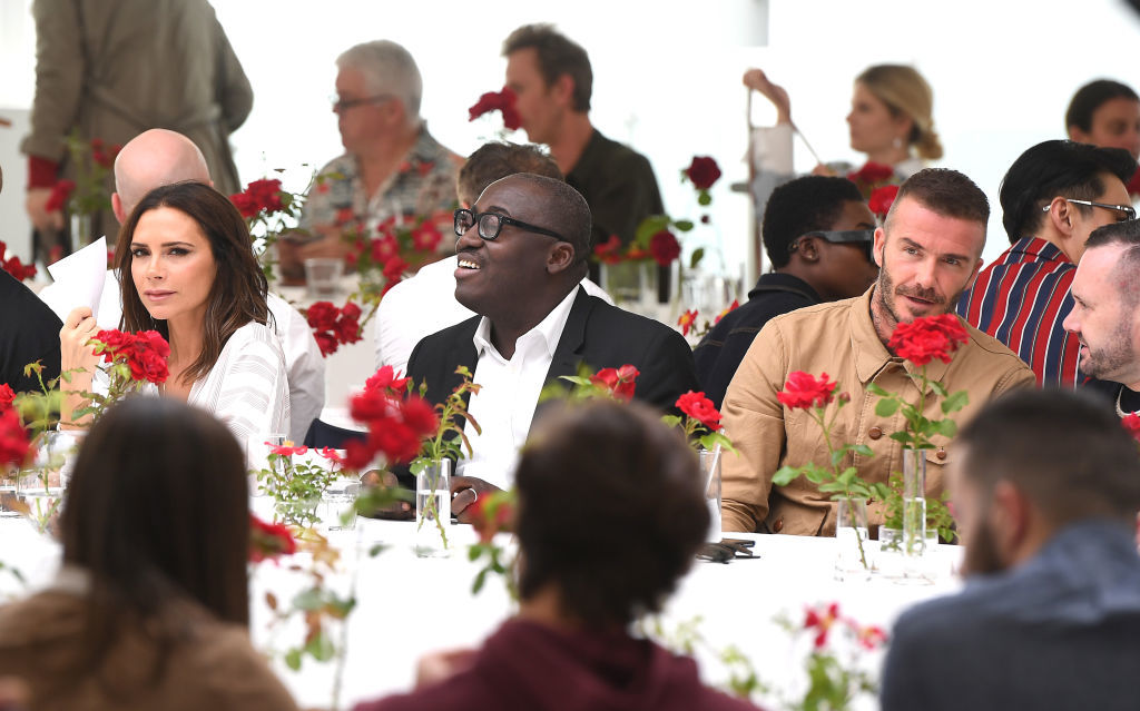 Victoria Beckham, Vogue Editor Edward Enninful and David Beckham attend the Kent & Curwen show during London Fashion Week Men's June 2018 on June 10, 2018.