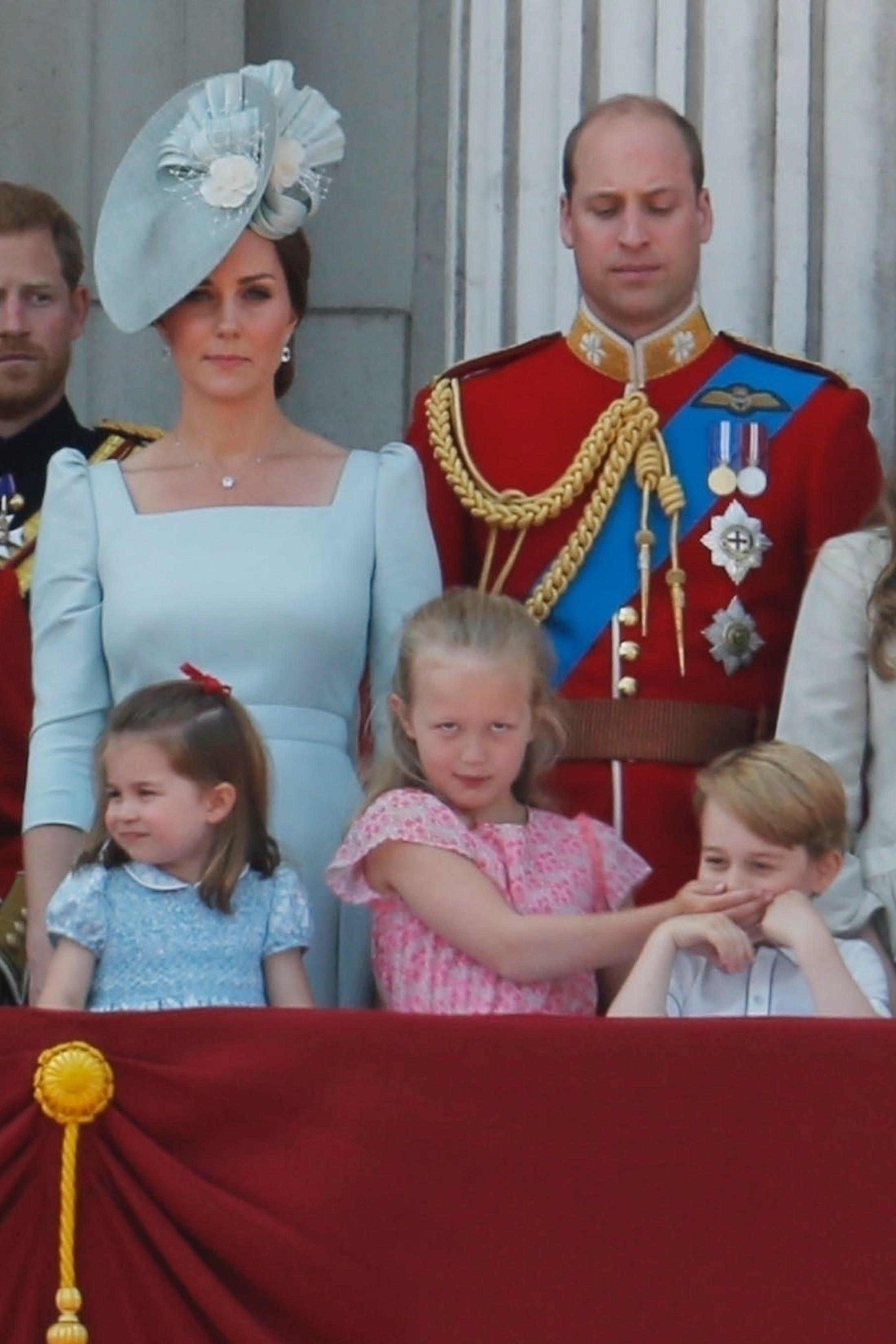The Royal Family celebrates the Queen's official birthday by attending the Trooping of the Colour at Buckingham Palace in London on June 9, 2018.