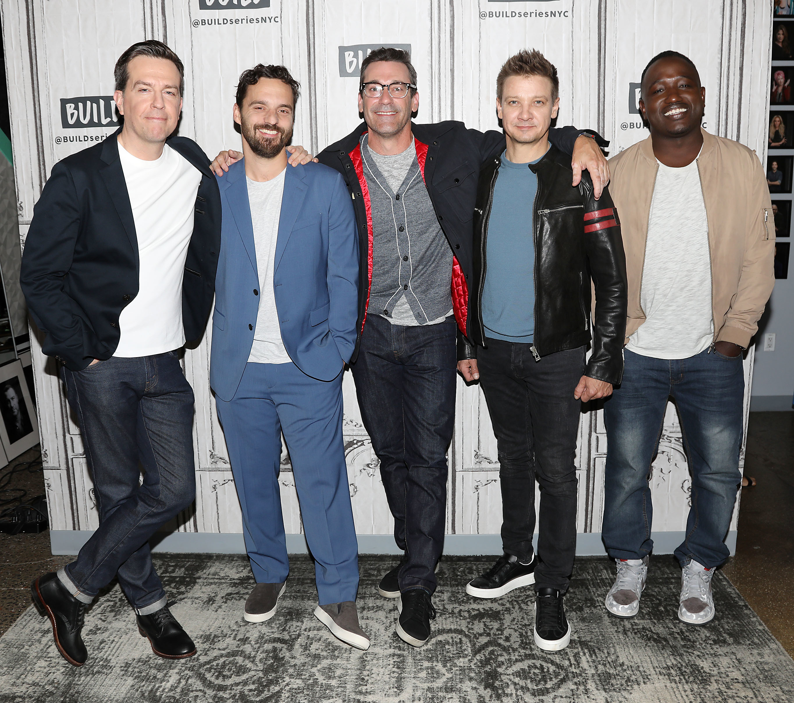 "The Stars of ""TAG"" Ed Helms, Jake Johnson, Jon Hamm, Jeremy Renner and Hannibal Buress visit the BUILD Speaker Series in New York City on June 12, 2018."