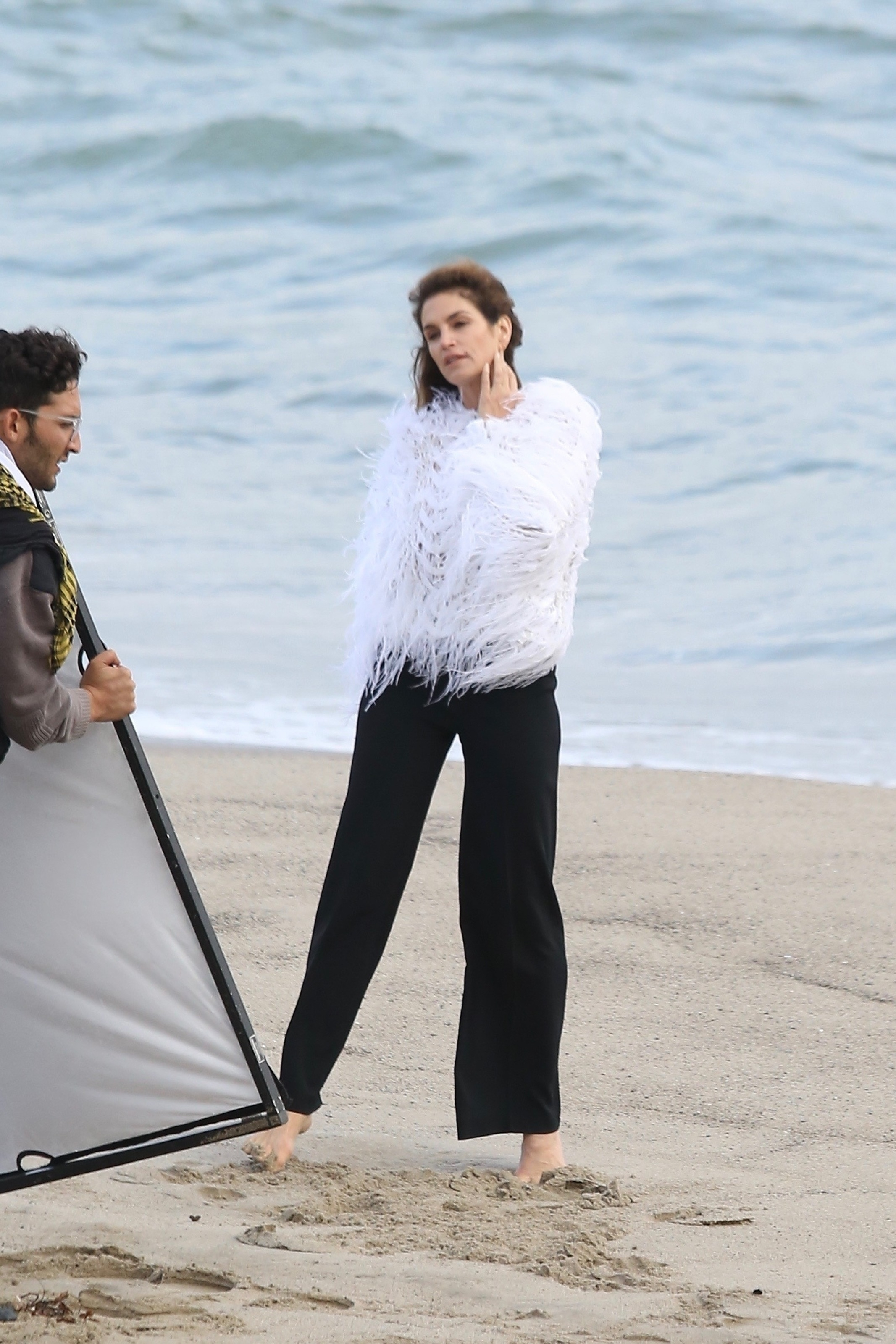 Cindy Crawford has a photoshoot in Malibu on May 24, 2018.