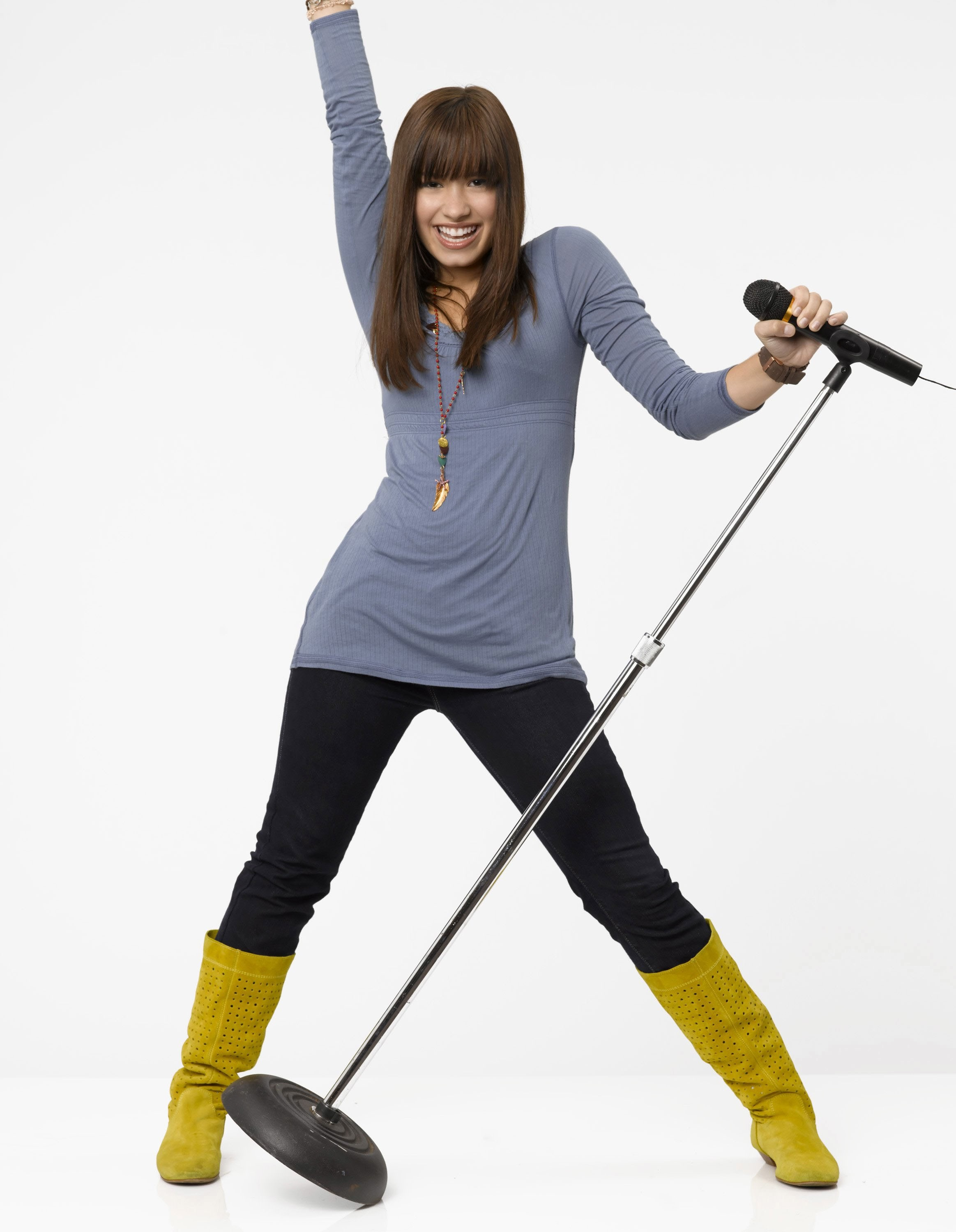 "Demi Lovato is shown in a promotional photo for ""Camp Rock"" in 2008."