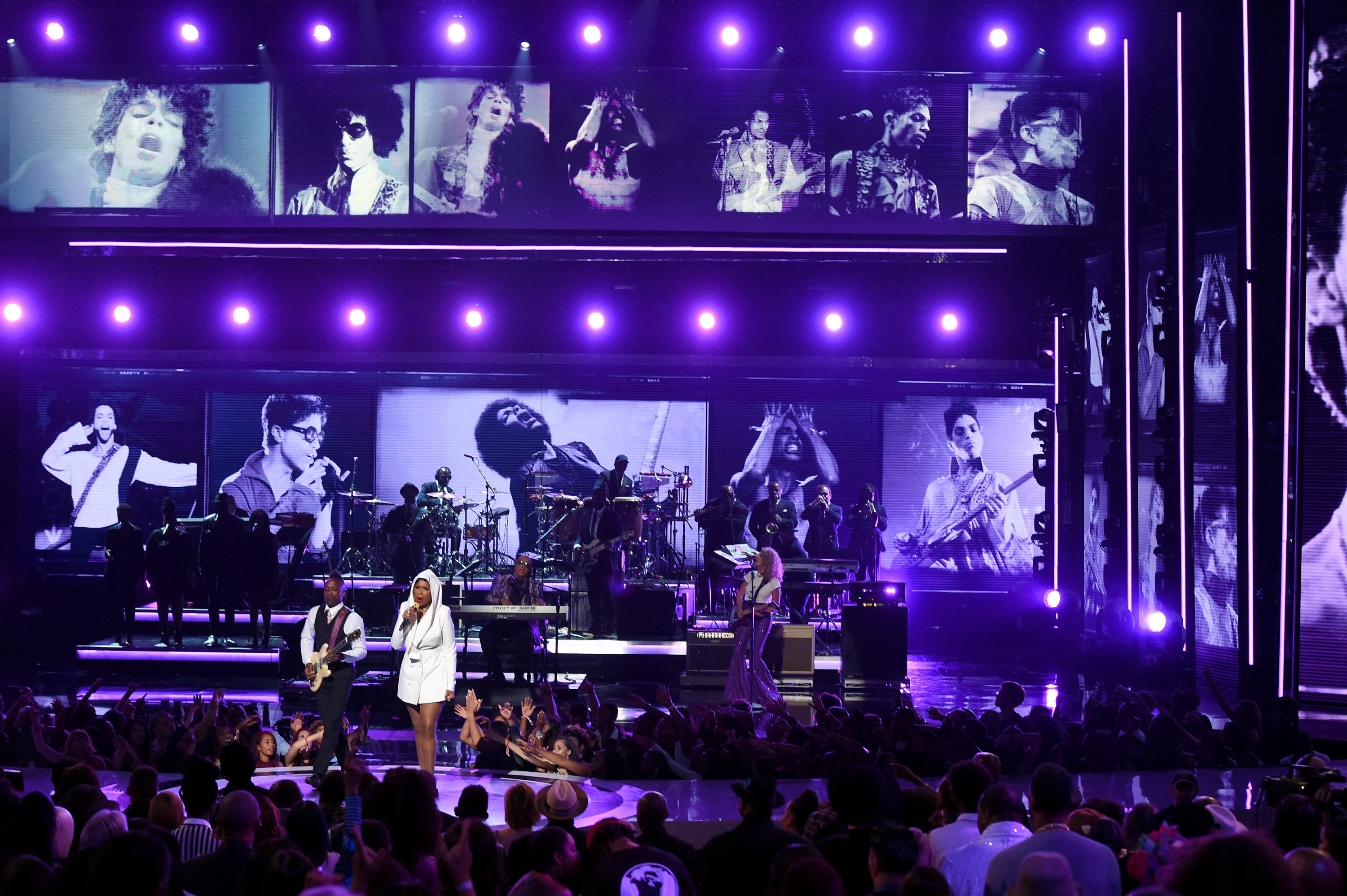 Captain Kirk Douglas of music group The Roots, Jennifer Hudson, Stevie Wonder and Tori Kelly perform onstage during the 2016 BET Awards at the Microsoft Theater in Los Angeles on June 26, 2016.