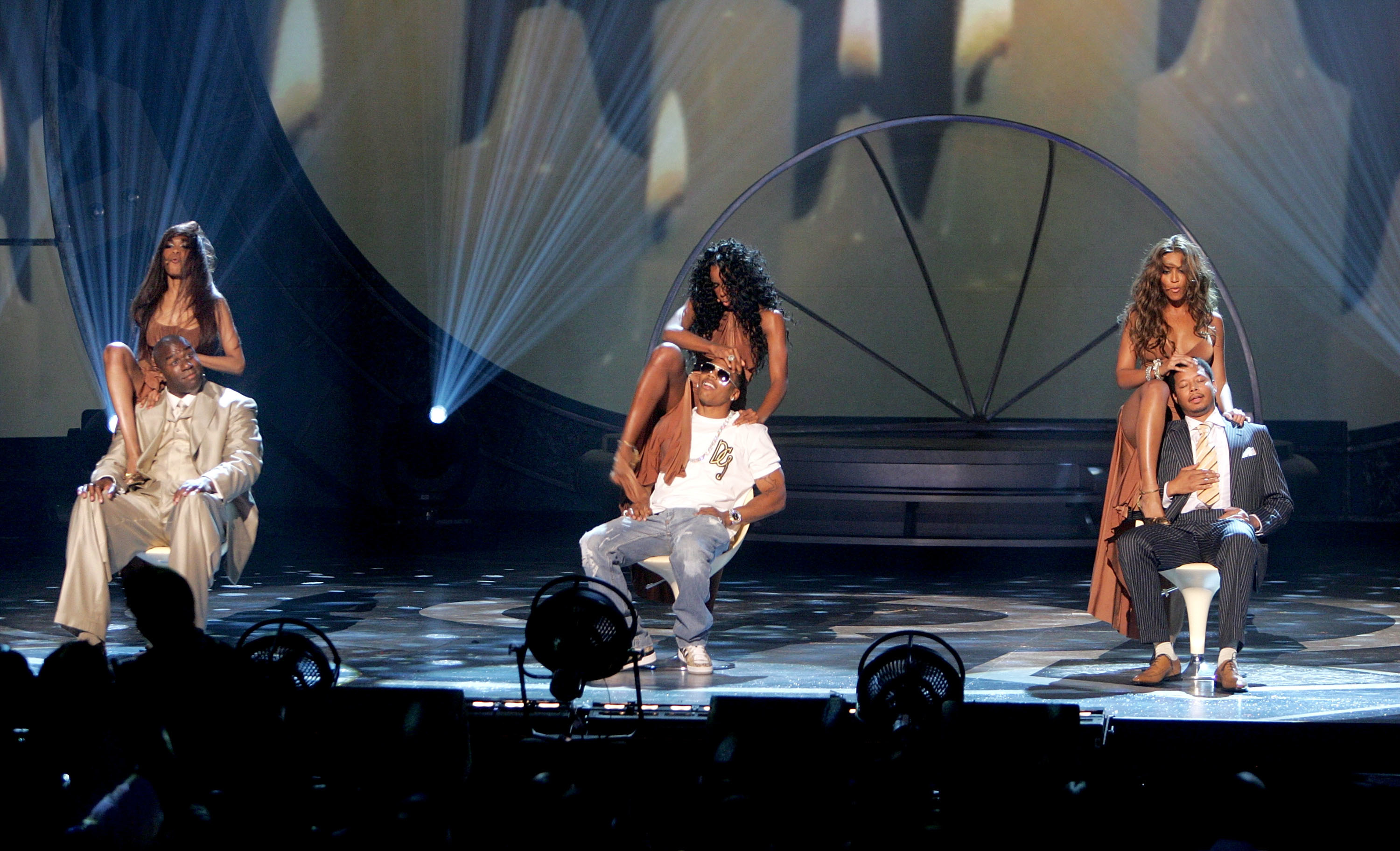 Destiny's Child, Michelle Williams, Kelly Rowland and Beyonce Knowles perform onstage with Magic Johnson, Nelly and Terrence Howard at the 2005 BET Awards at the Kodak Theatre in Hollywood, California on June 28, 2005.