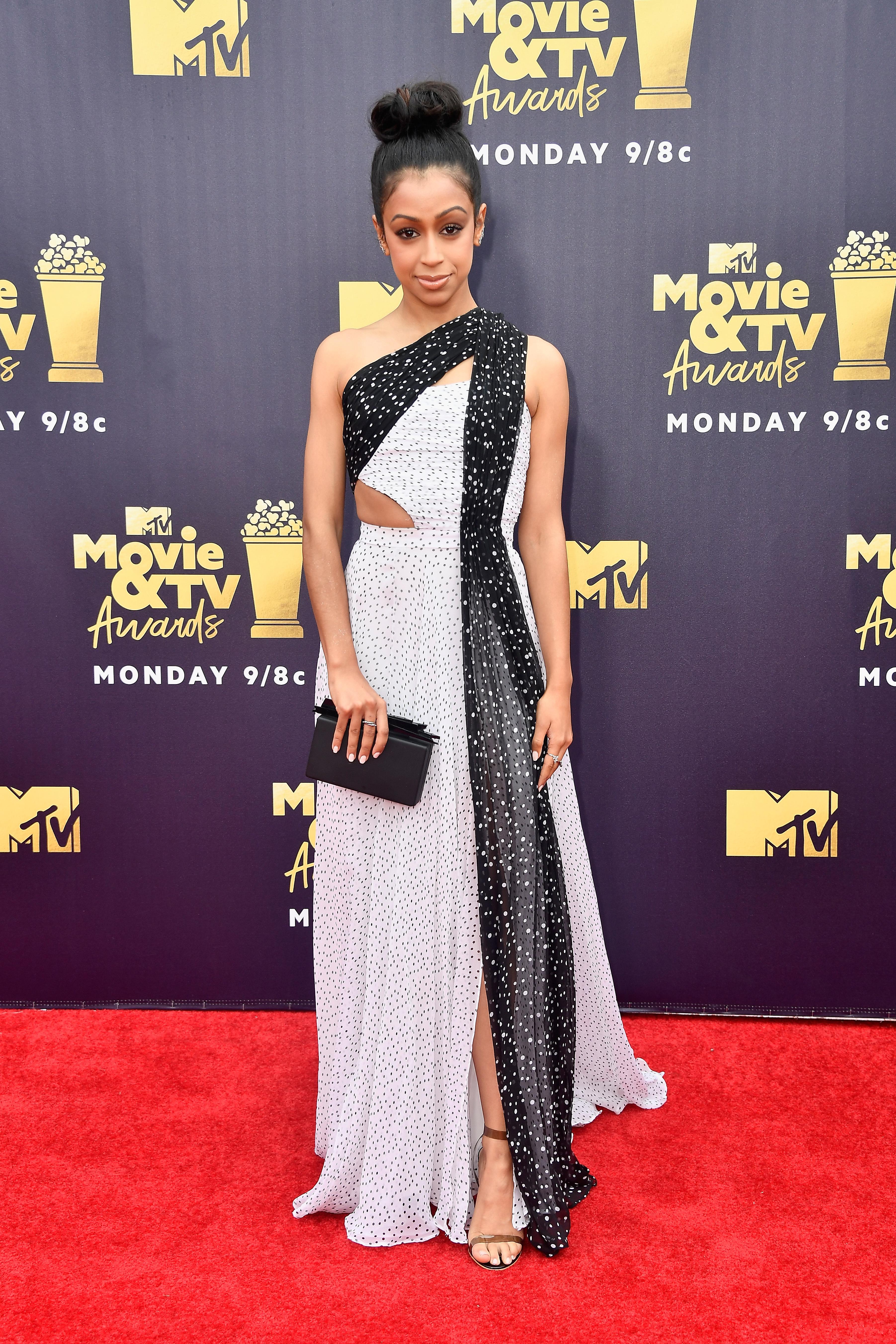 Liza Koshy attends the MTV Movie & TV Awards in Los Angeles on June 16, 2018.