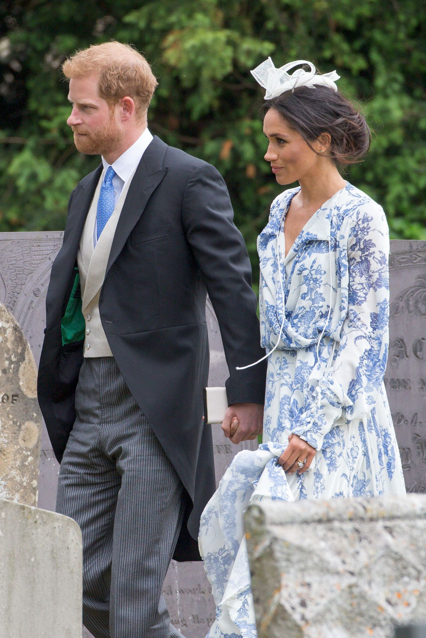 Prince Harry and Duchess Meghan arrive for the wedding of Celia McCorquodale in London on June 16, 2018.