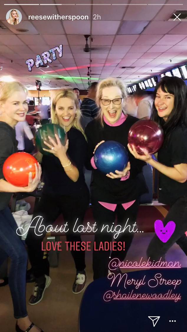 Reese Witherspoon shared this photo of herself bowling with Nicole Kidman, Meryl Streep and Shailene Woodley on her Instagram Story on June 3, 2018.