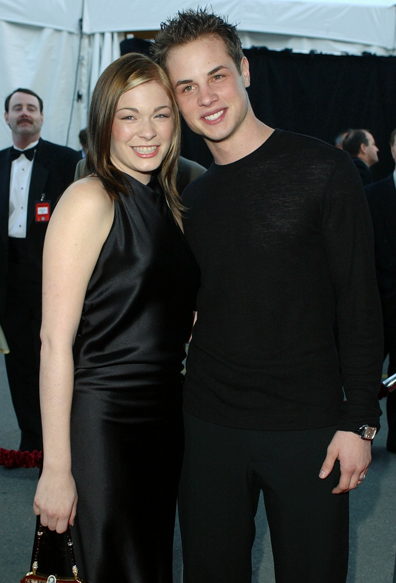 LeAnn Rimes arrives with her fiancee Dean Sheremet at the 29th American Music Awards in Los Angeles on Jan. 9, 2002.