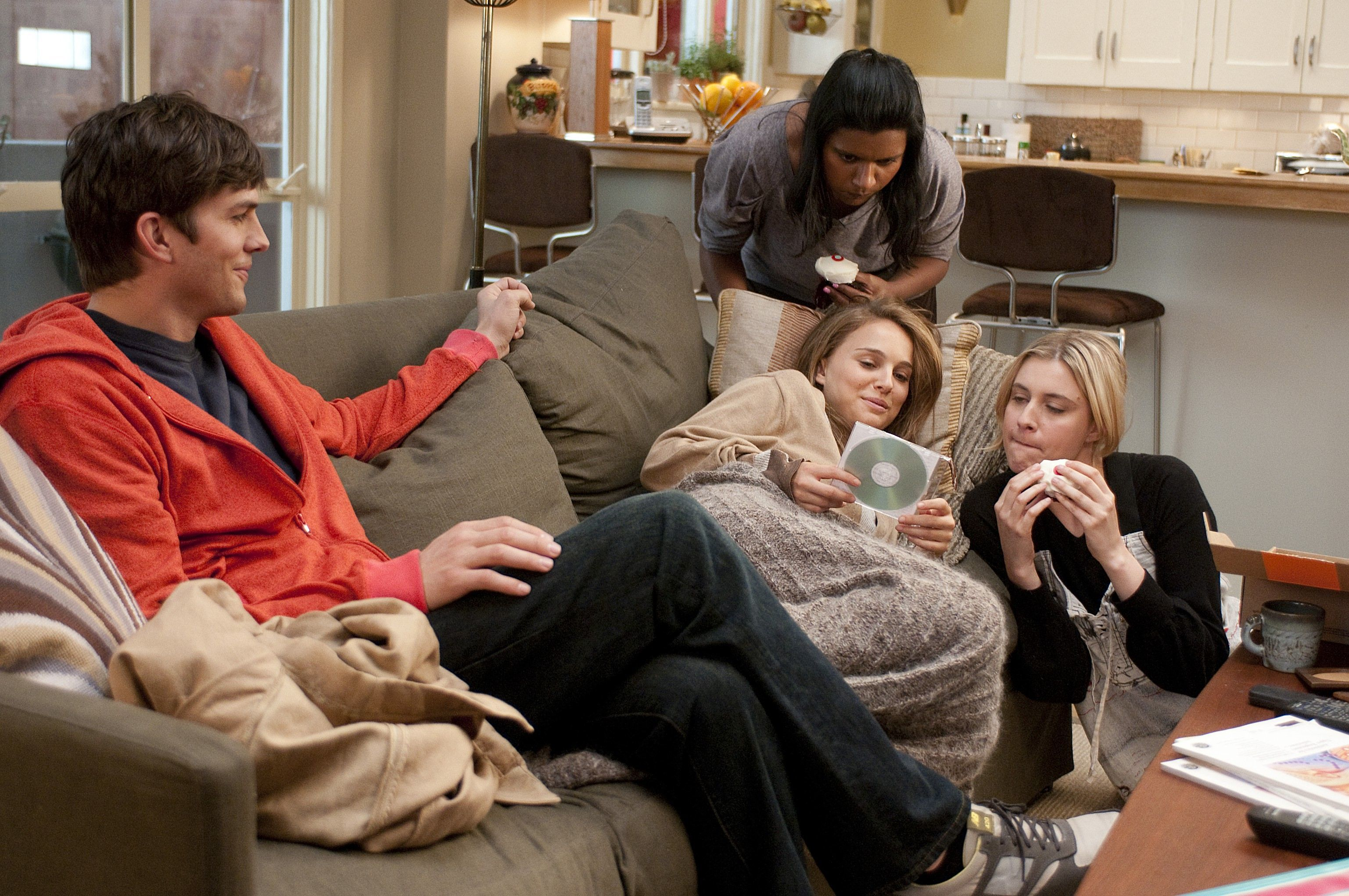 "Ashton Kutcher, Natalie Portman, Mindy Kaling and Greta Gerwig in ""No Strings Attached."""