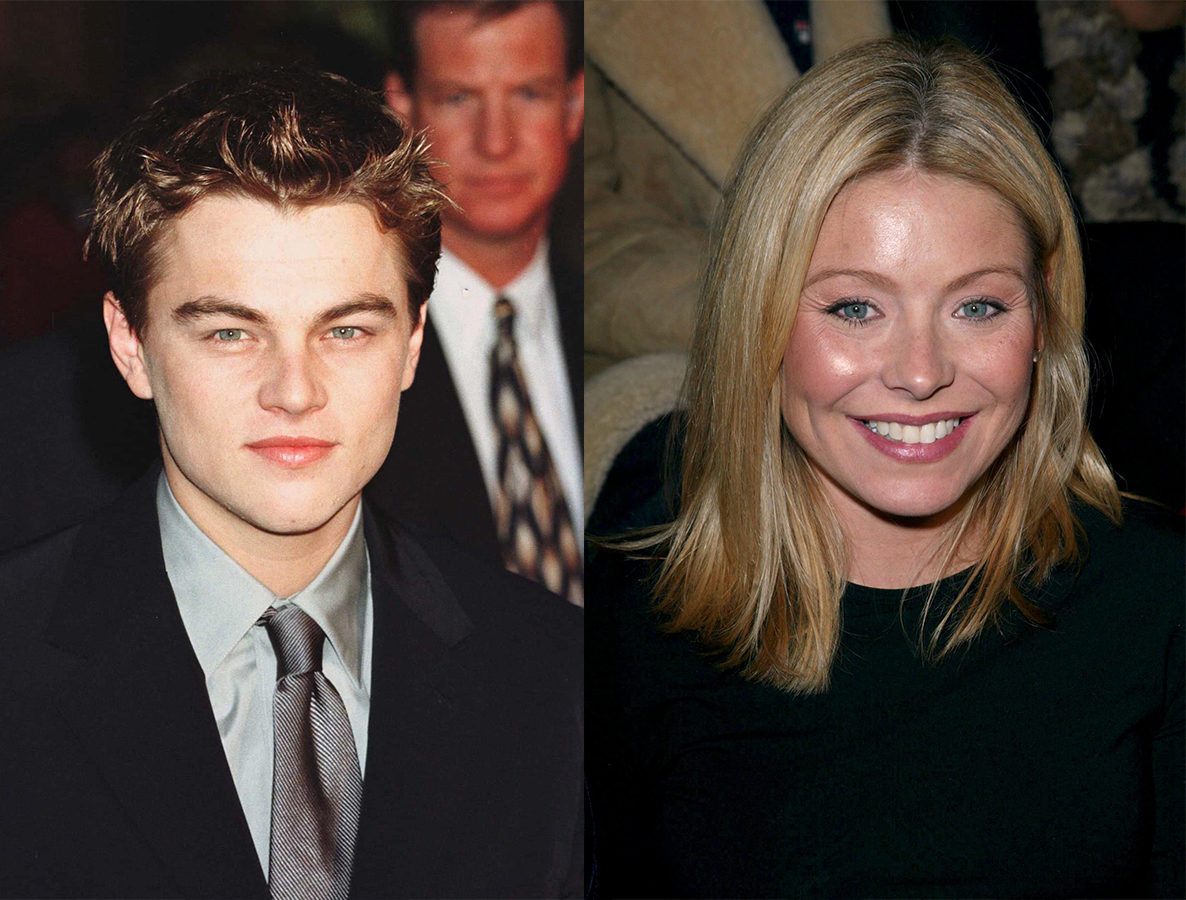 """Leonardo DiCaprio attends the premiere of """"Titanic"""" in Hollywood in 1997. / Kelly Ripa attends the Sean John Autumn/Winter fashion show in New York City on Feb. 8, 2003."""