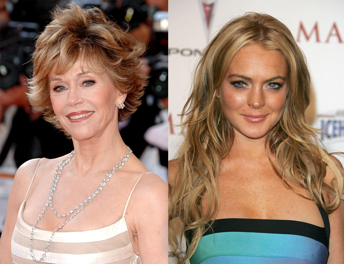 Lindsay Lohan attends Maxim Magazine's 8th Annual Hot 100 Party in New York City on May 16, 2007. / Jane Fonda attends the 60th Cannes Film Festival in Cannes, France on May 27, 2007.