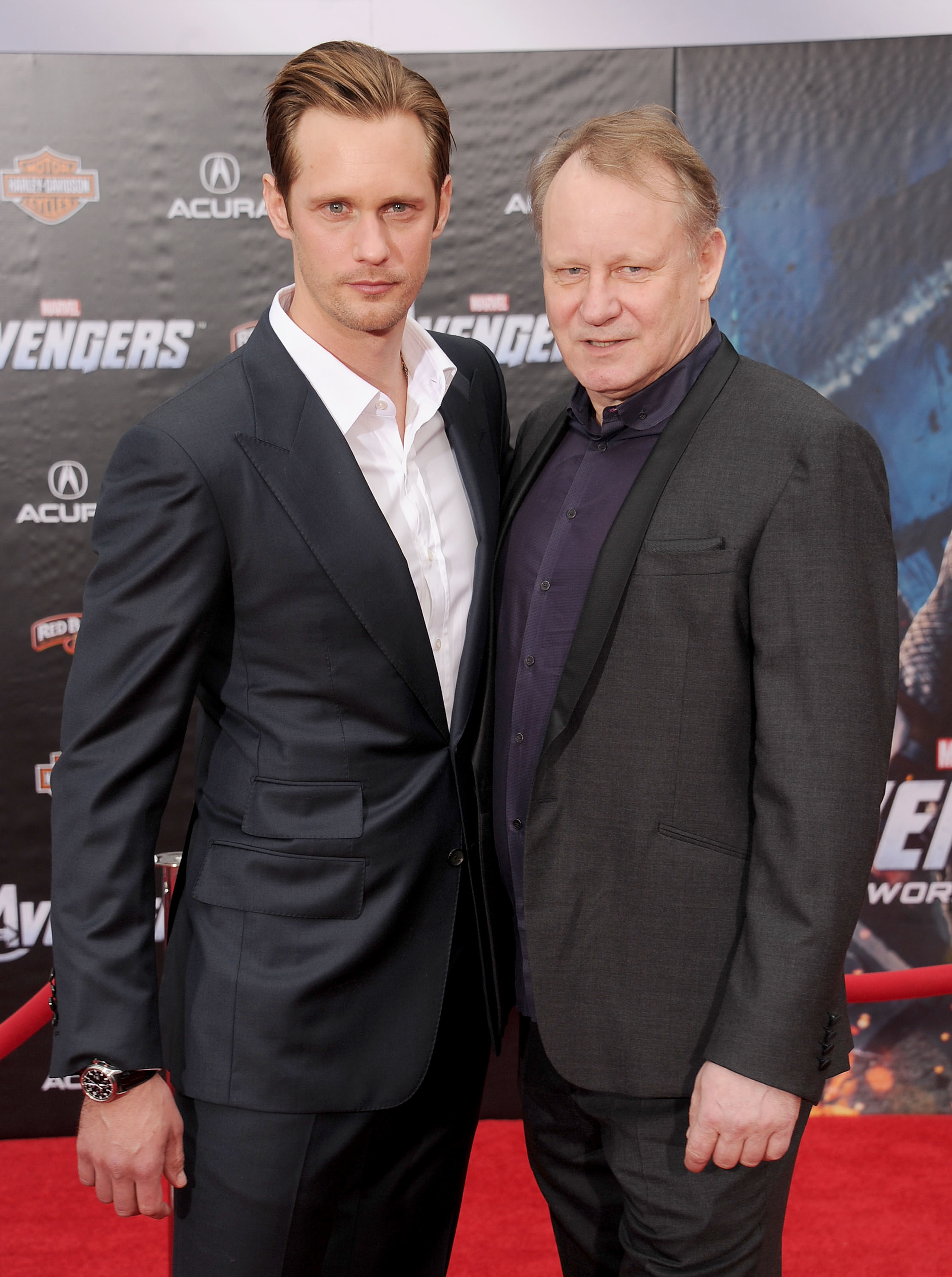 """Alexander Skarsgard and father Stellan Skarsgard arrive at the Los Angeles premiere of """"Marvel's Avengers"""" at the El Capitan Theatre in Hollywood, California on April 11, 2012."""