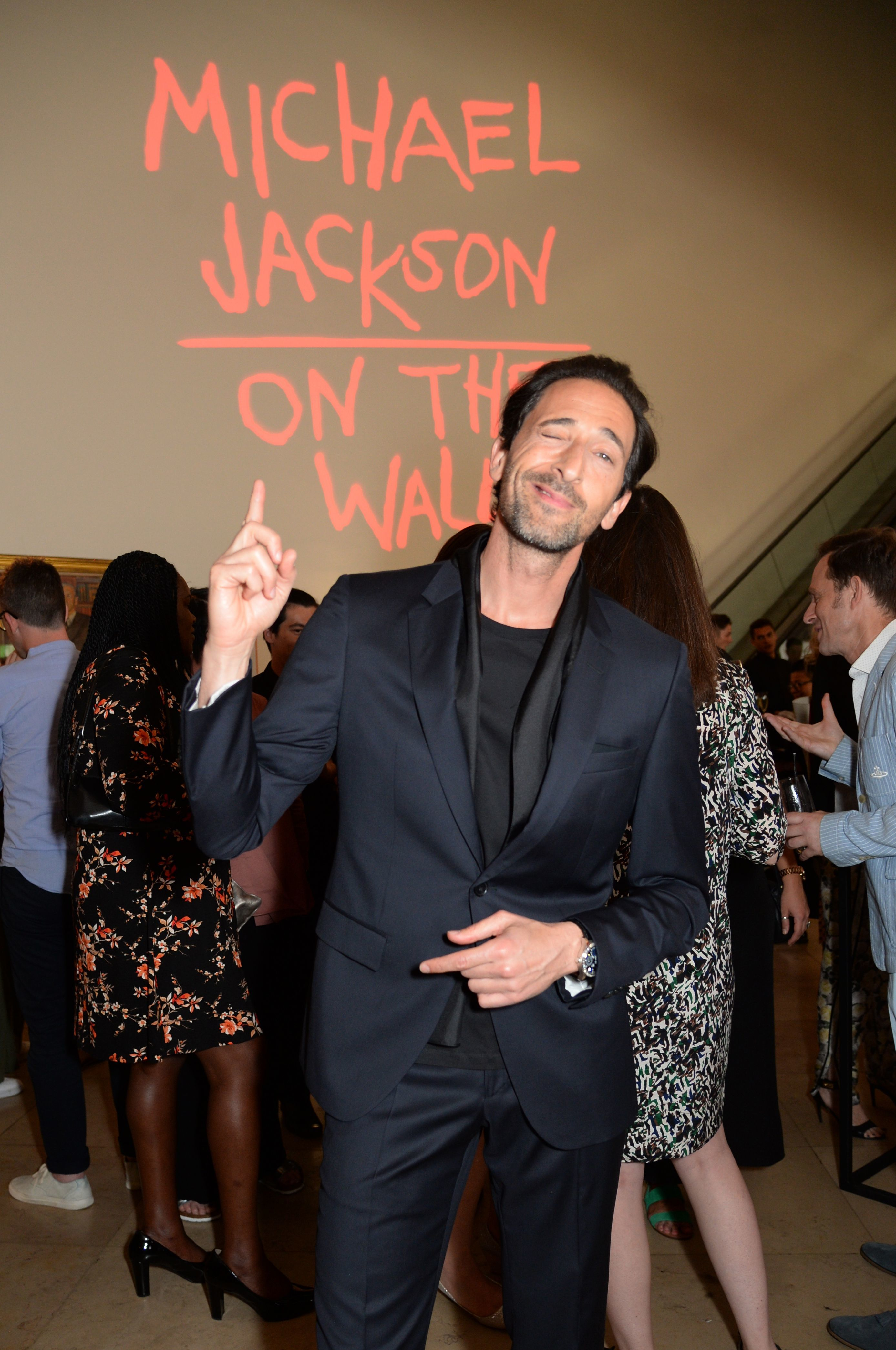 Adrien Brody attends the Michael Jackson: On The Wall exhibition private view in London on June 26, 2018.