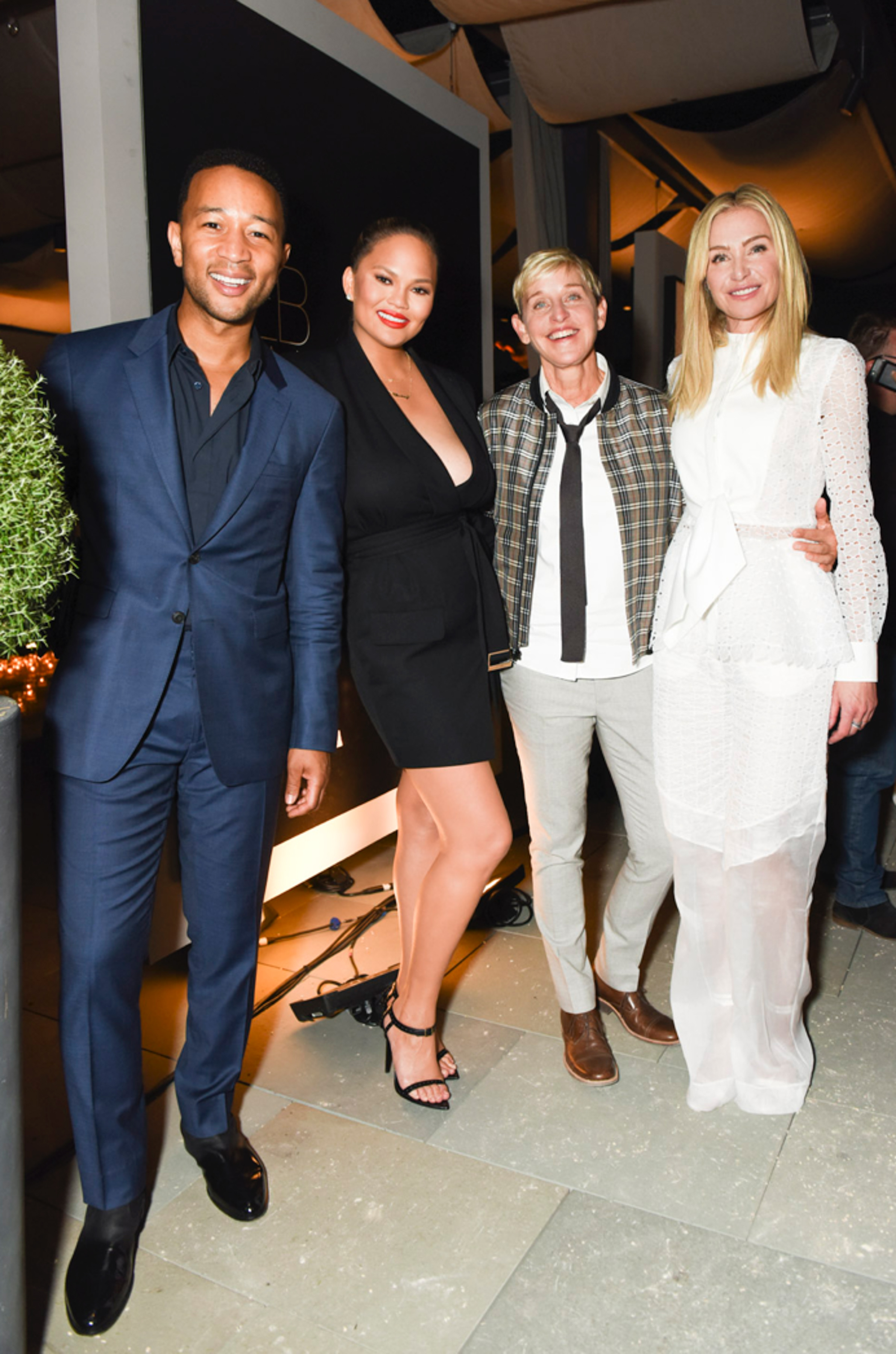 John Legend, Chrissy Teigen, Ellen DeGeneres and Portia de Rossi attend the General Public x RH celebration in California on Jun 27, 2018.
