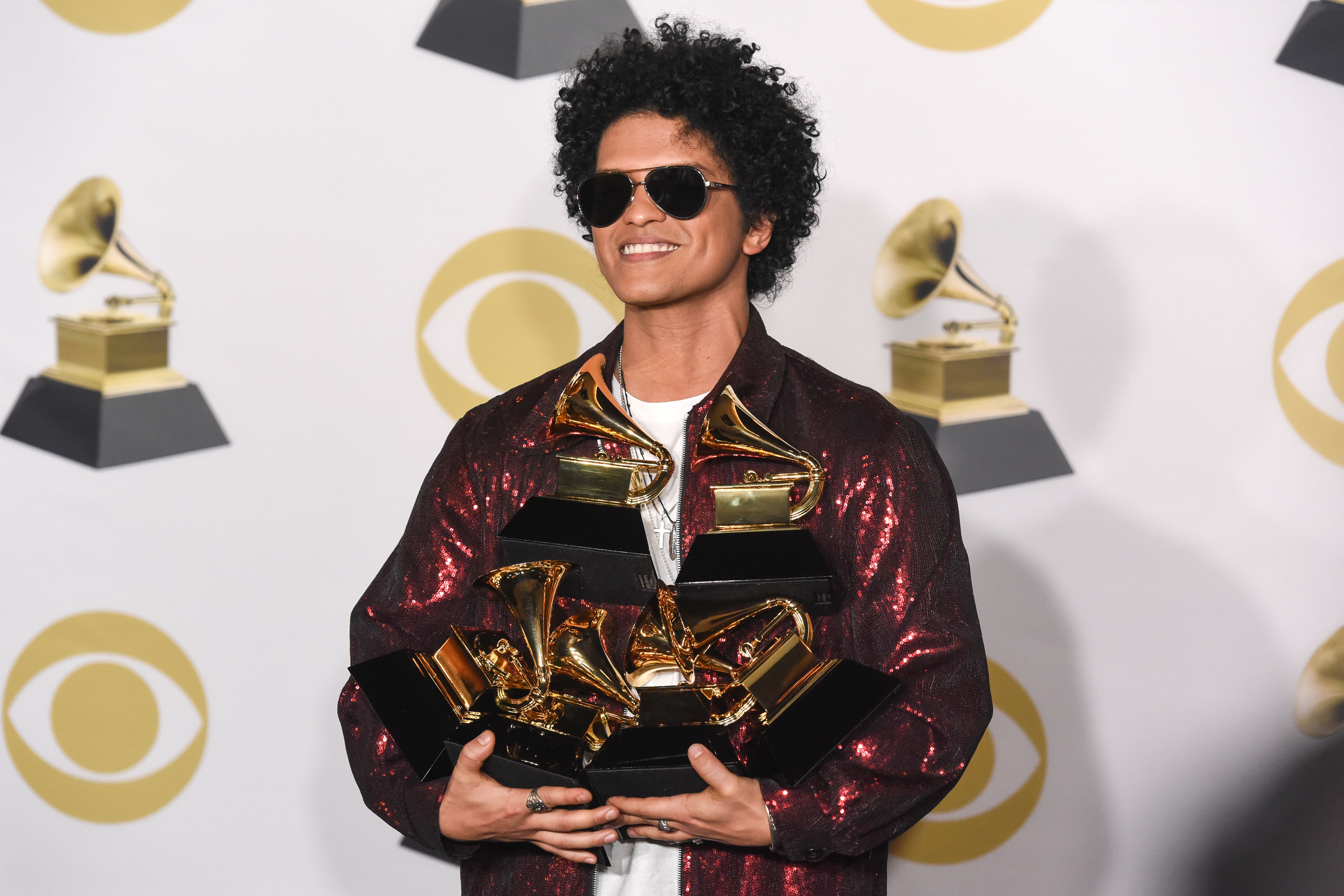 Bruno Mars attends 60th Annual GRAMMY Awards   Press Room at Madison Square Garden in New York City on Jan. 28, 2018.